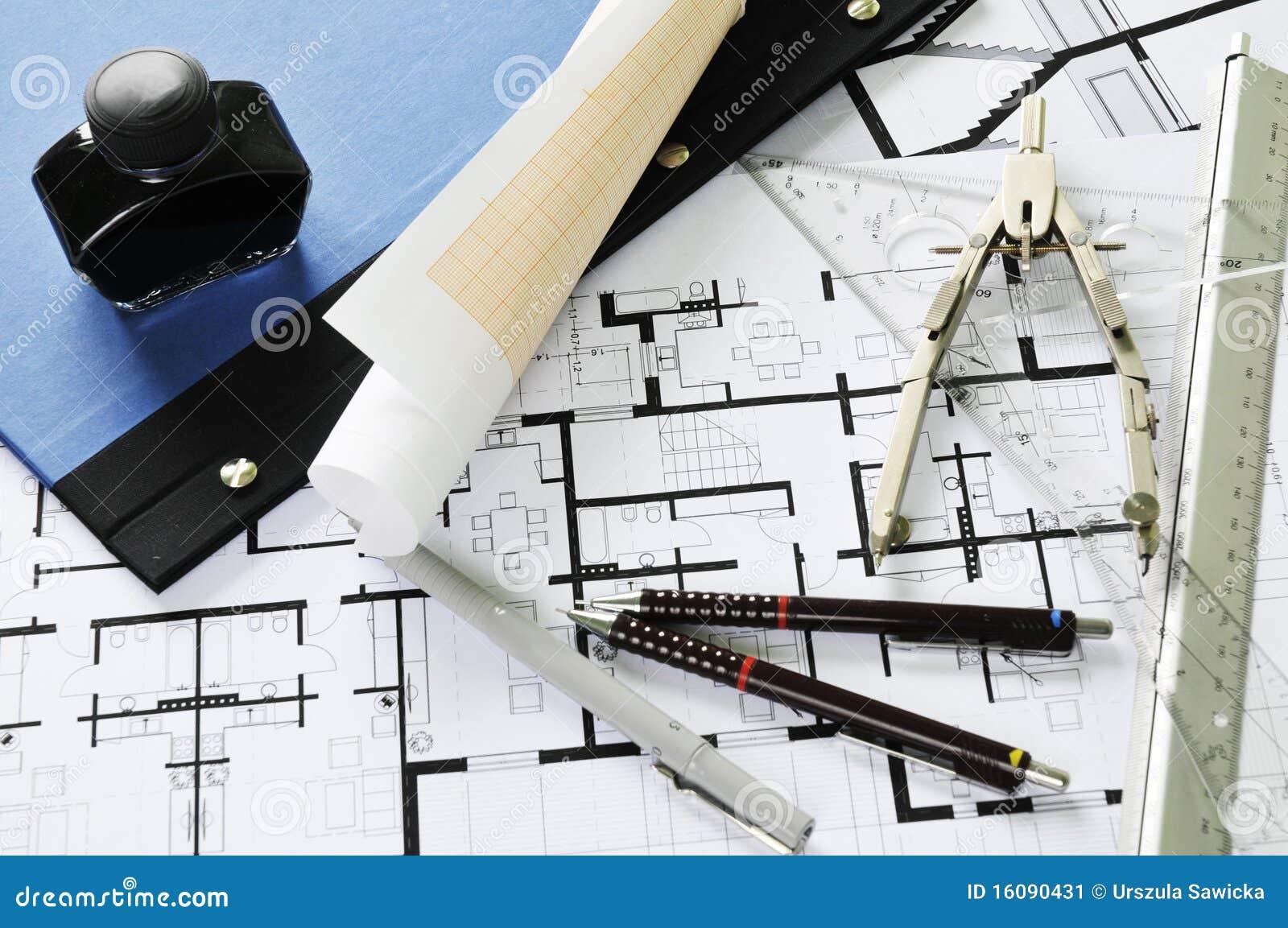 architekten schreibtisch und hilfsmittel stockbild bild. Black Bedroom Furniture Sets. Home Design Ideas
