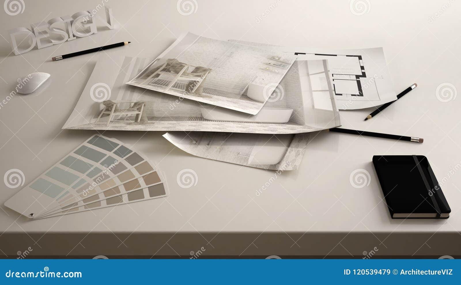 Architektendesignerkonzept, Tabelle nah oben mit Innenerneuerungsentwurf, Innenarchitektur-Planzeichnungen des Badezimmers, Beisp