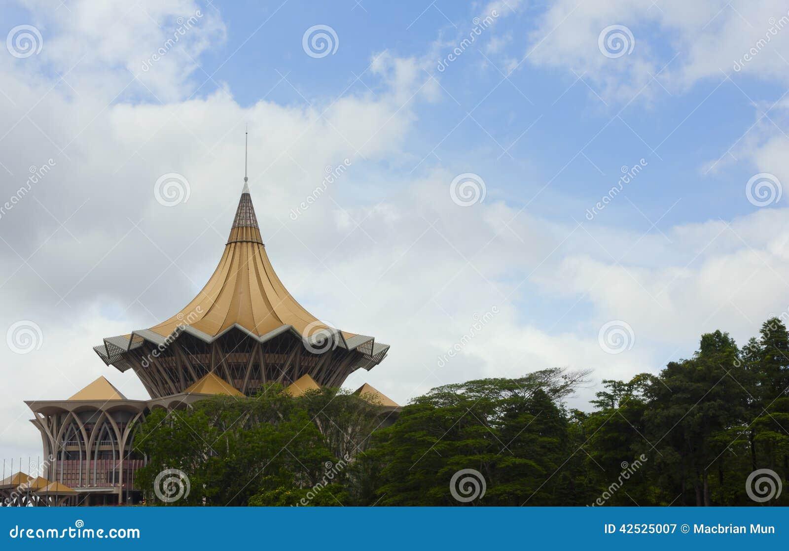 Architektoniczny punkt zwrotny w Kuching, Sarawak, Wschodni Malezja