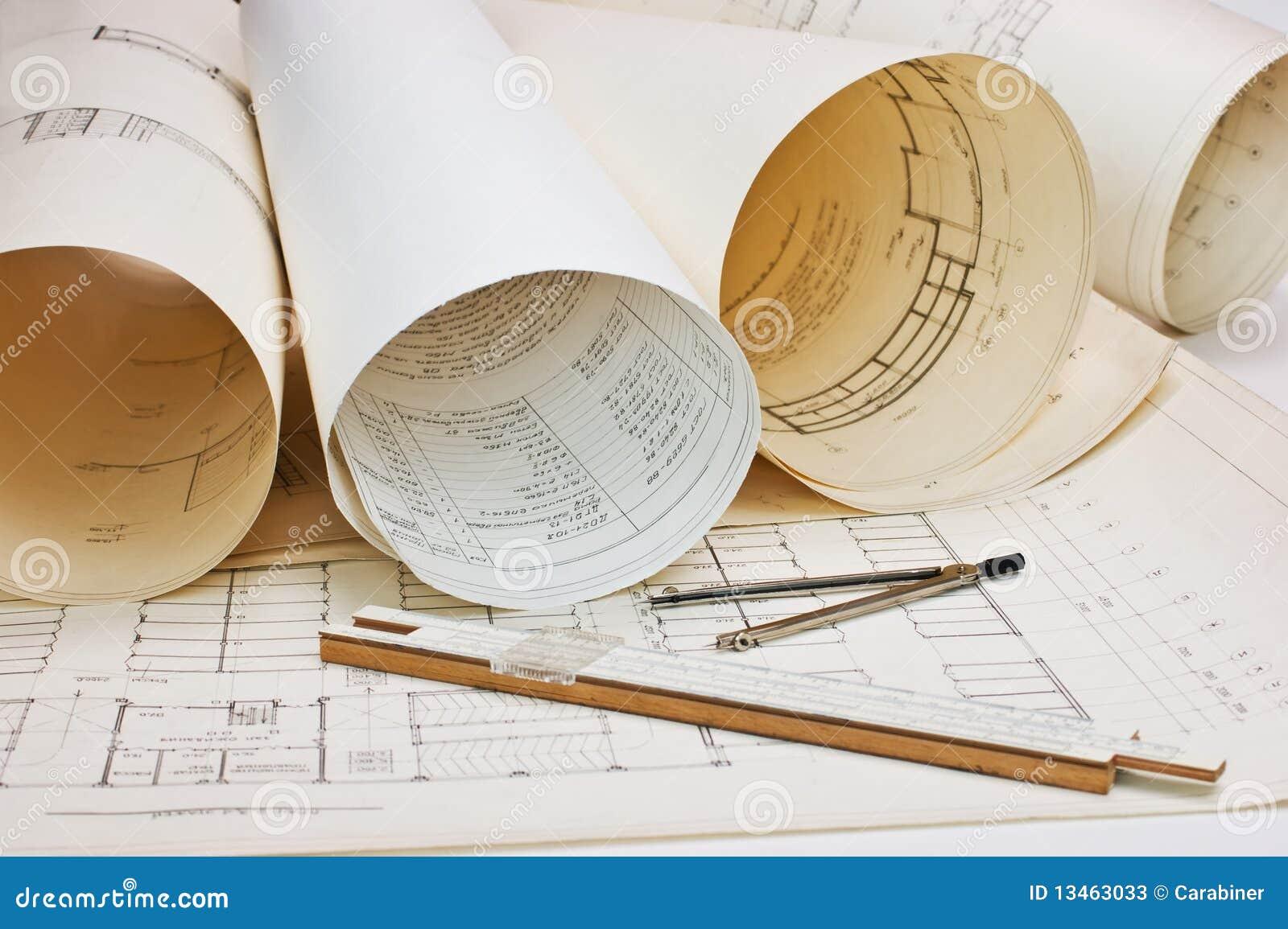 Architektoniczny rysunkowy stary
