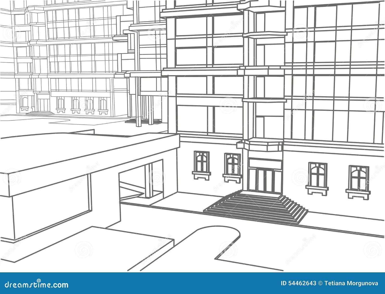 architektonische lineare skizze des geb udes in wenigen. Black Bedroom Furniture Sets. Home Design Ideas