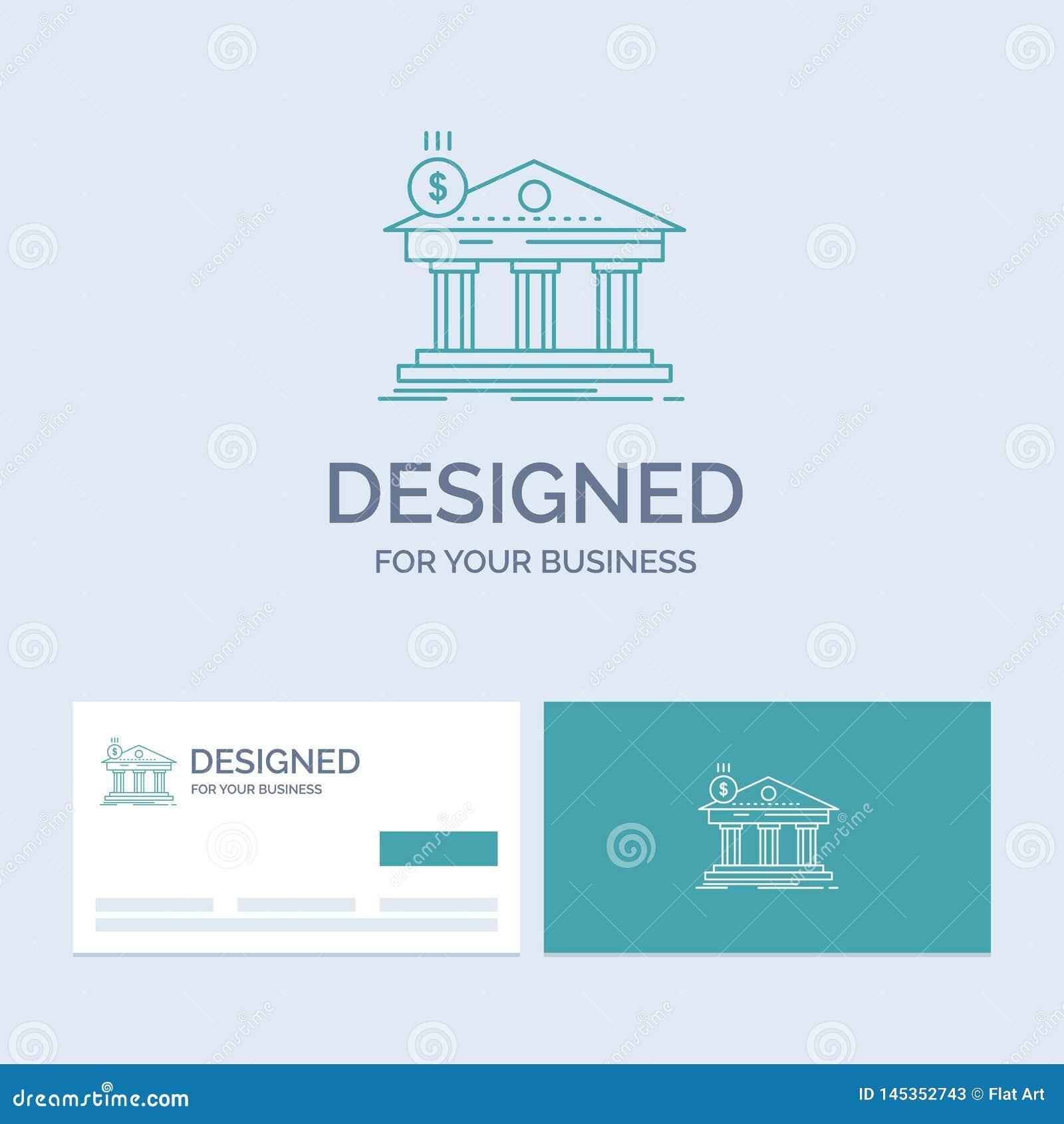 Architektur, Bank, Bankwesen, Gebäude, Bundesgeschäft Logo Line Icon Symbol für Ihr Geschäft T?rkis-Visitenkarten mit