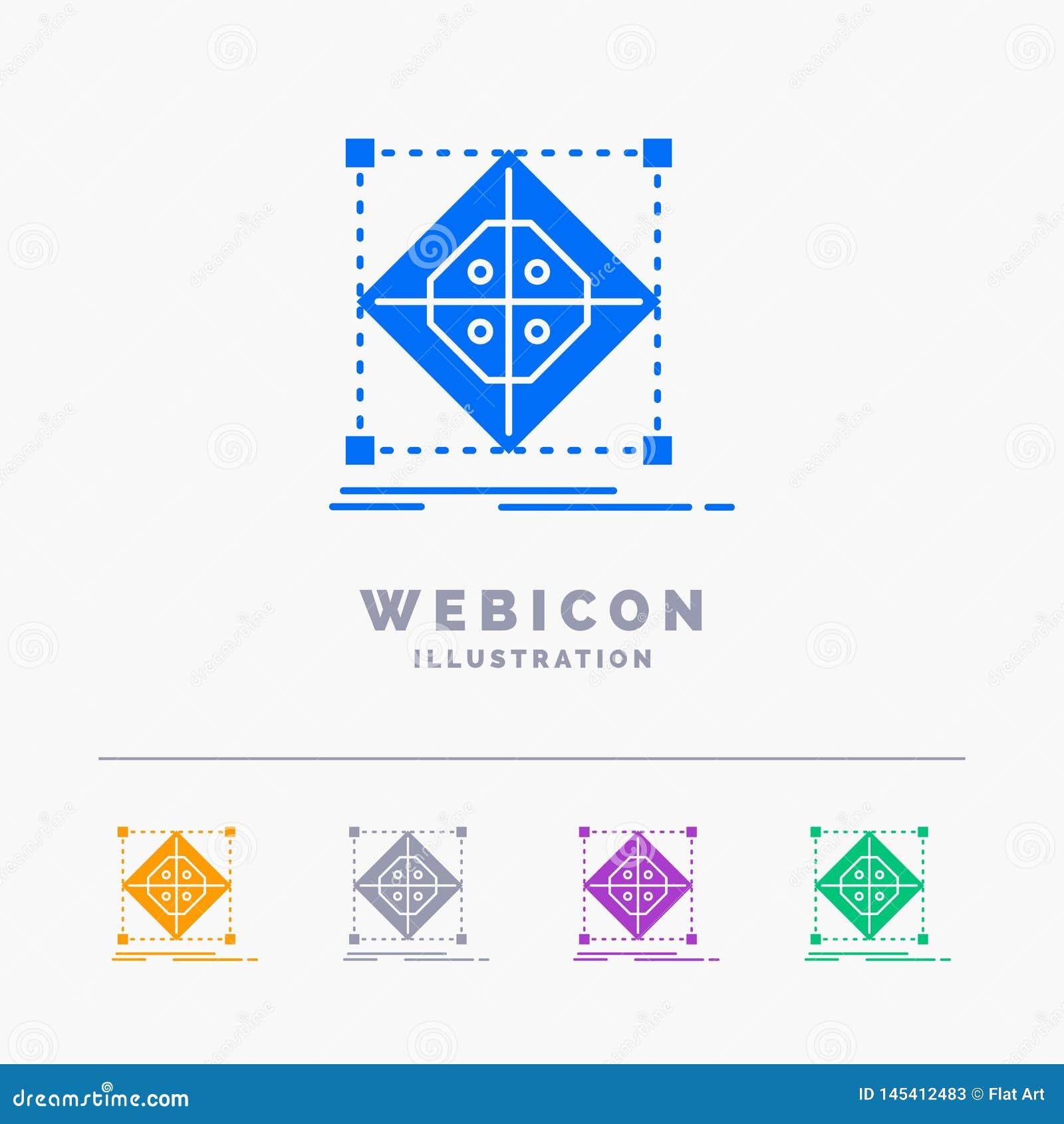 Architektur, Gruppe, Gitter, Modell, Vorbereitung 5 Farbeglyph-Netz-Ikonen-Schablone lokalisiert auf Weiß Auch im corel abgehoben