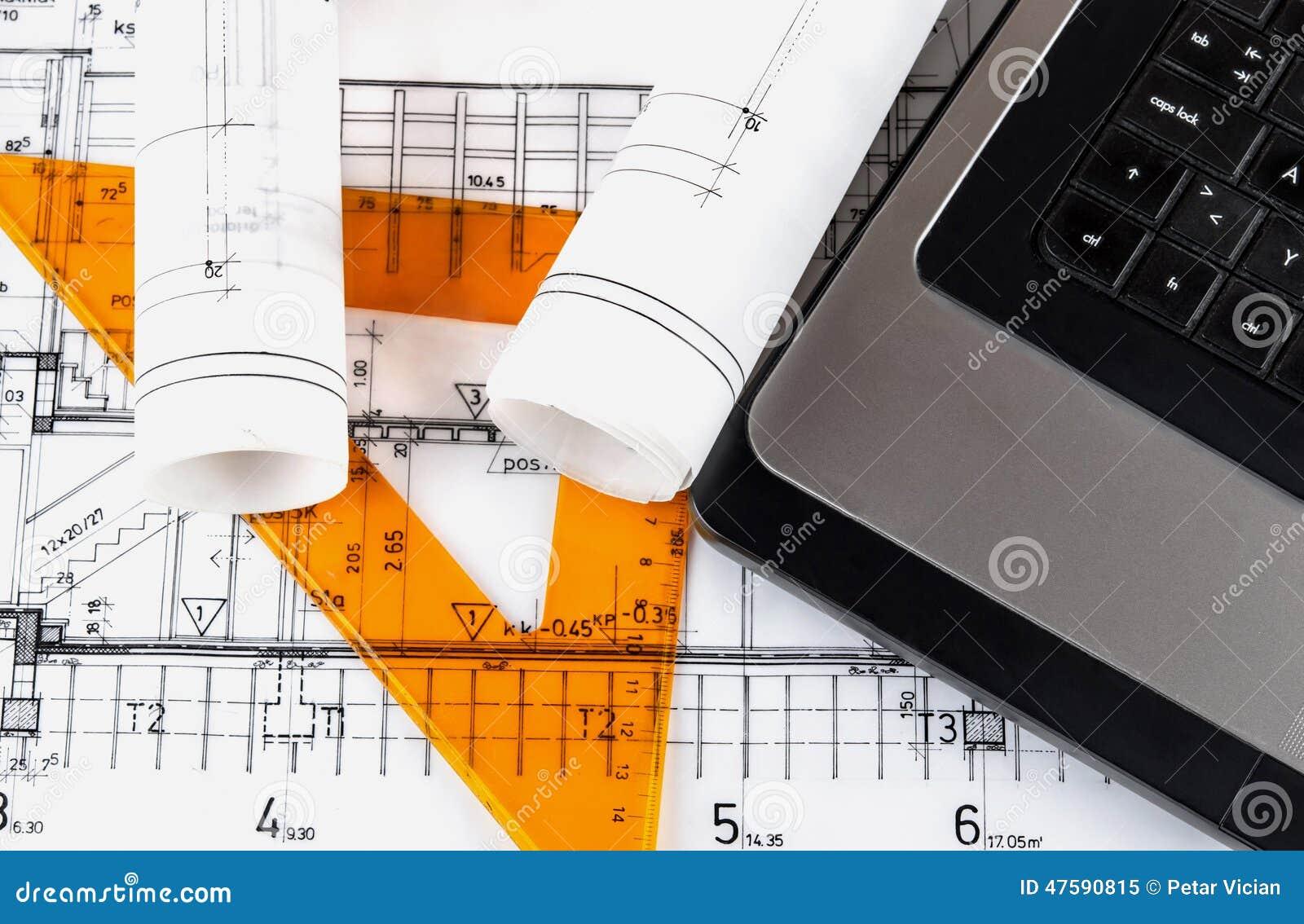 Architektur rollt Architekturplan-Architektenpläne