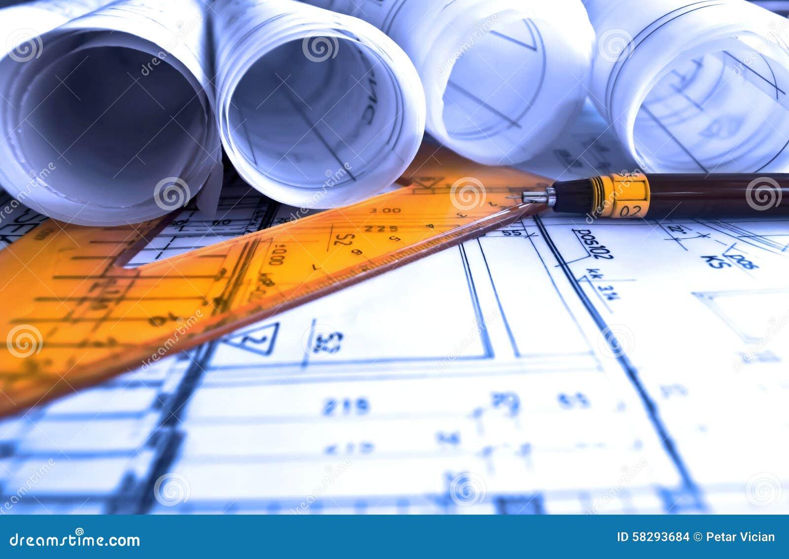 Architektur rollt Architekturplan-Projektarchitekten