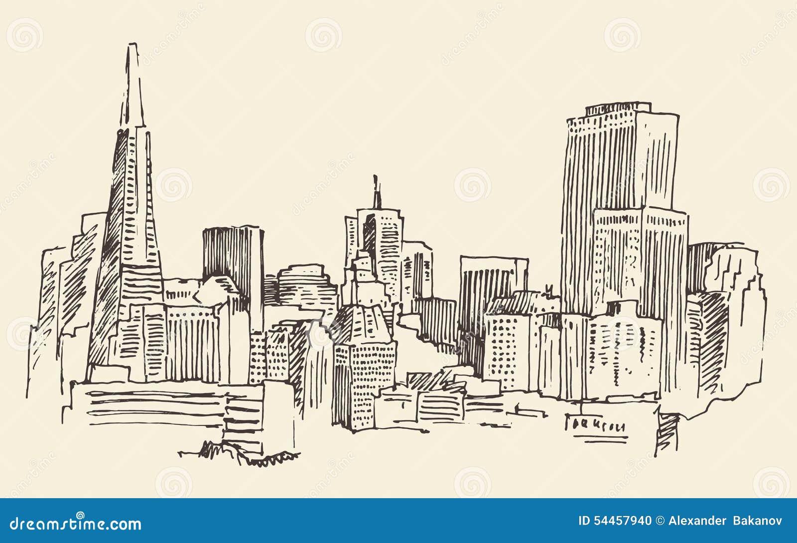 Architektur San Franciscos Grossstadt Weinlese Gravierte