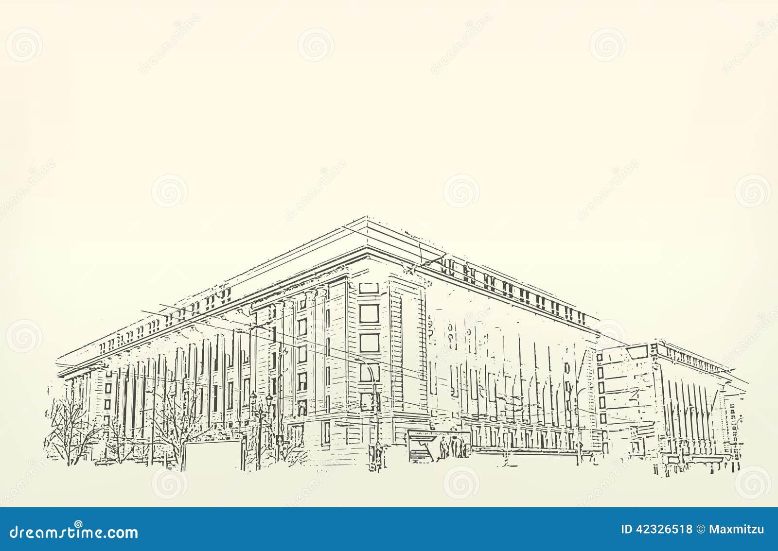 Download Architektur Skizze Zeichnung Des Gebaudes Vektor Abbildung