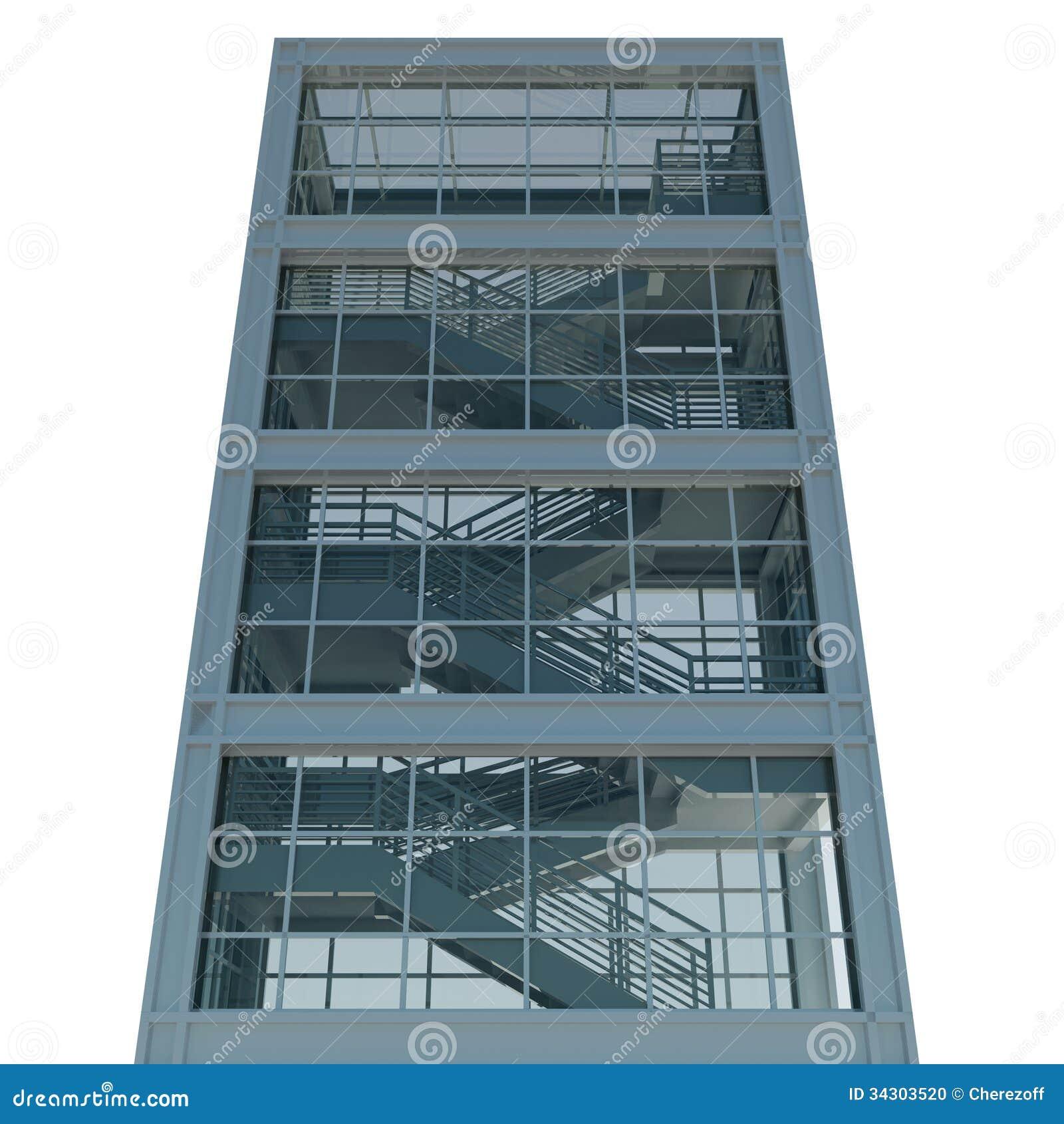 Turbo Architektur: Treppenhaus Und Fenster Stock Abbildung RD66