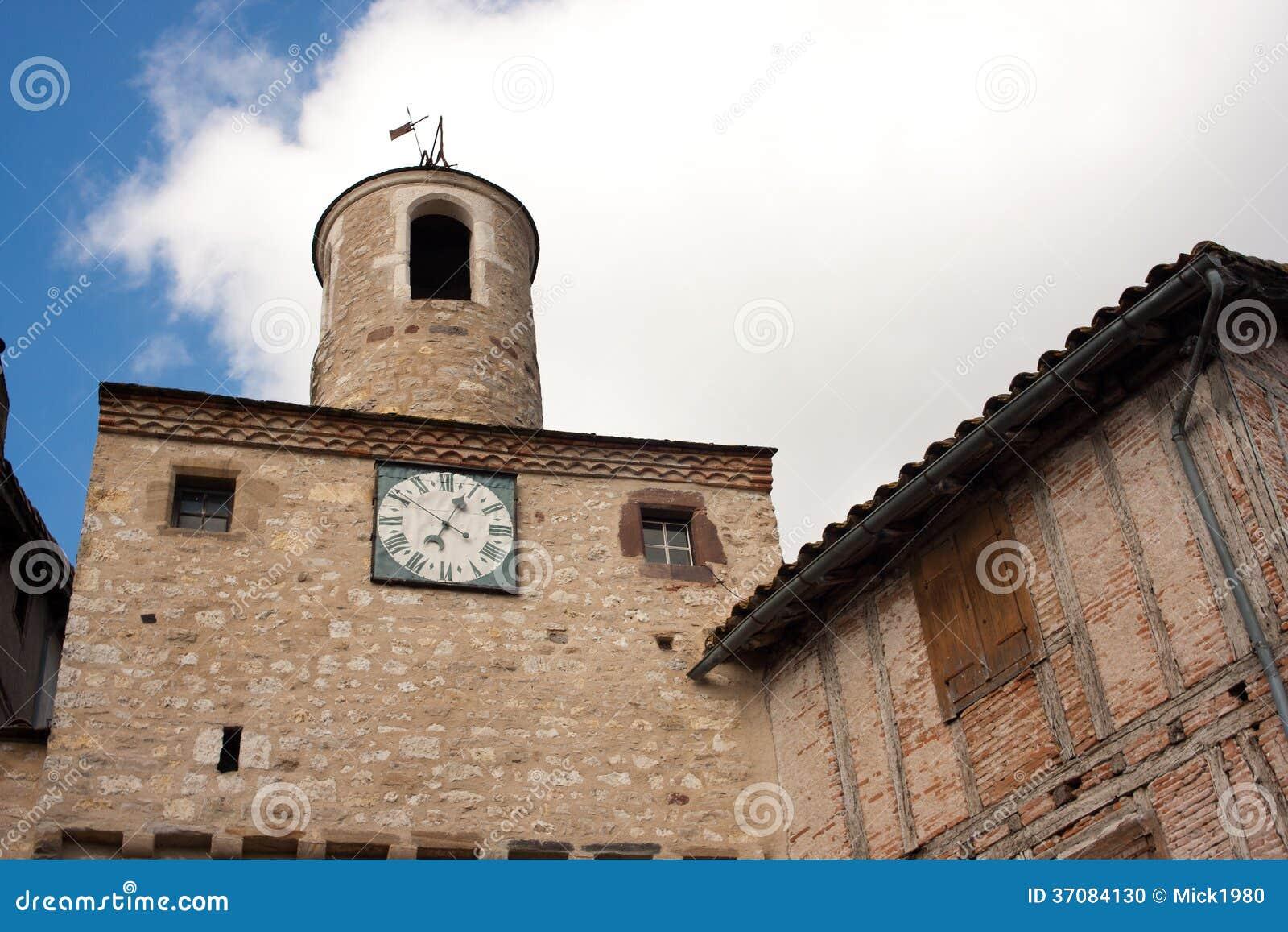Download Architektura Cordes-sur-Ciel Zdjęcie Stock - Obraz złożonej z turystyka, zegar: 37084130