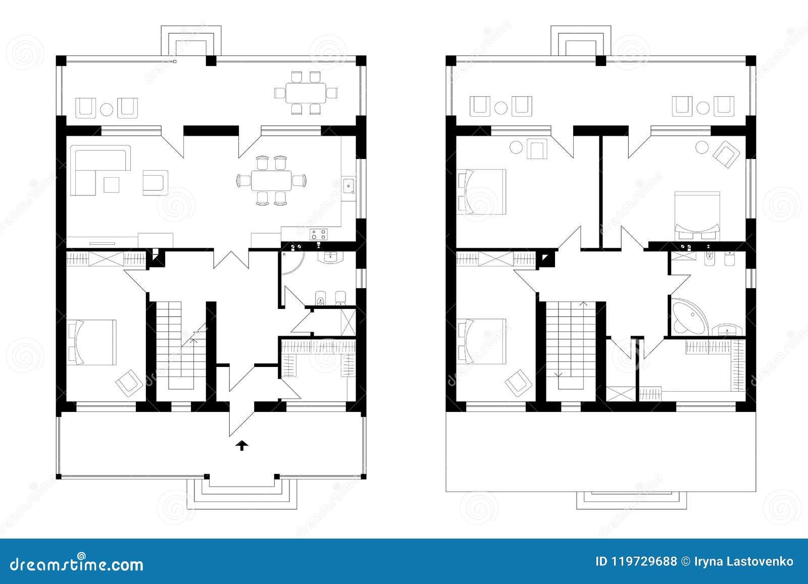 Architekturplan eines Zweigeschossherrenhauses mit einer Terrasse T