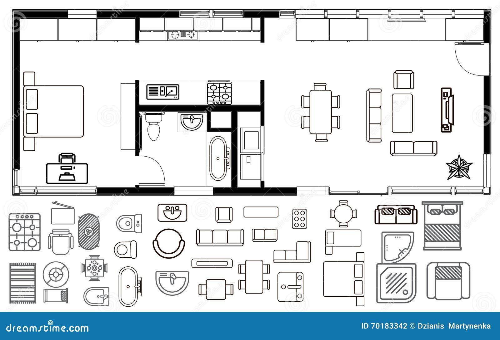 bathroom ceiling finishing ideas - Architekturplan Mit Möbeln In Der Draufsicht Vektor