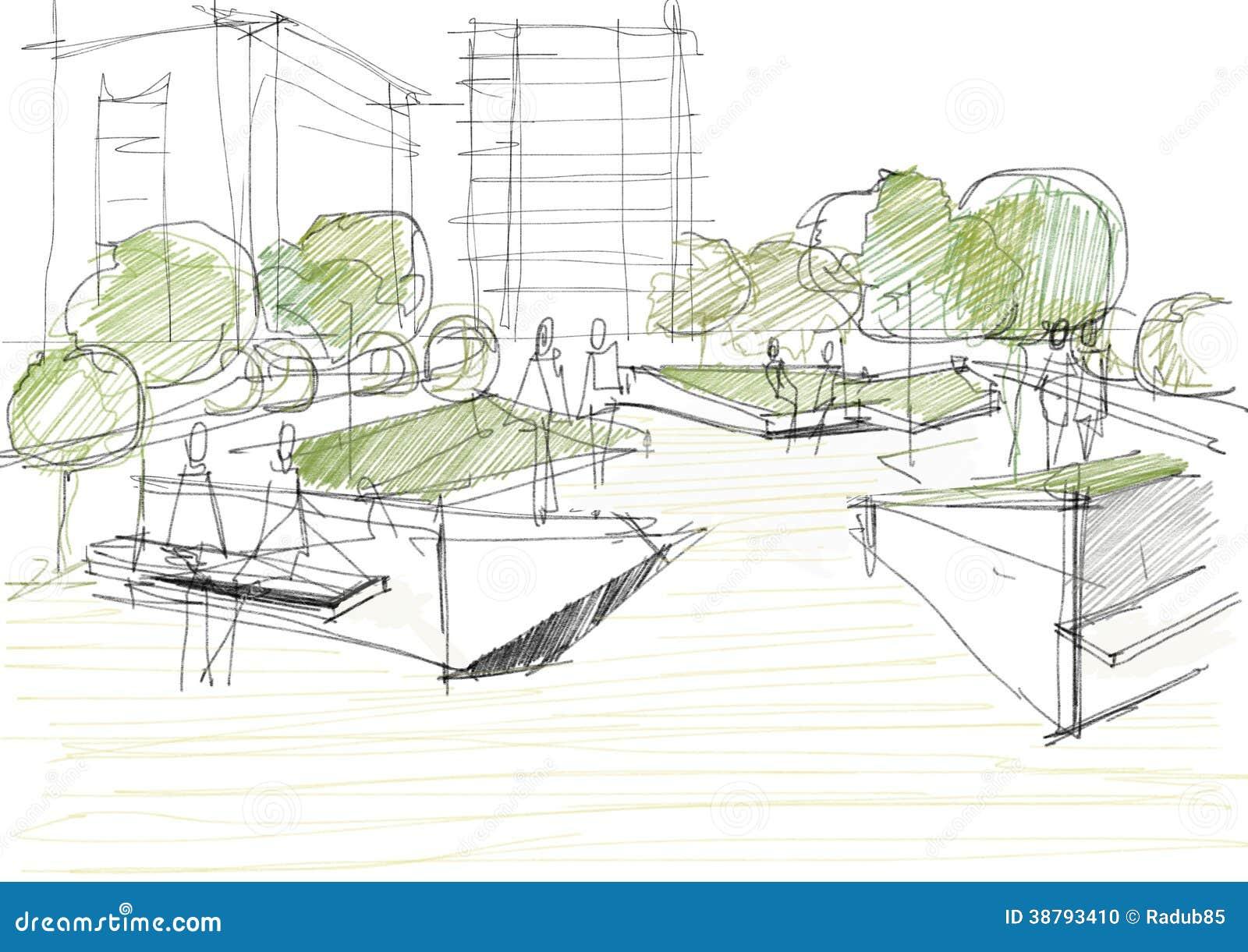 Allgemeiner Park Mit Leute Architekturskizzen Illustration