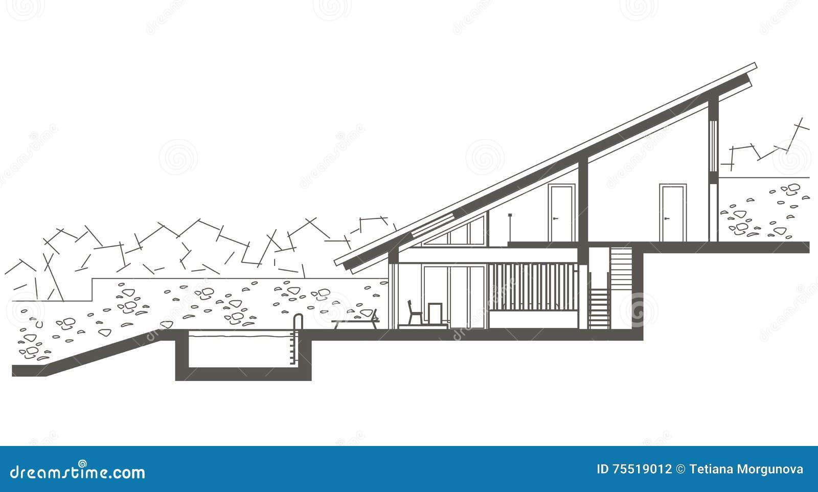 Download Architekturskizzen Zwei Ebenenhaus Mit Schwimmbad Schnittzeichnung Vektor Abbildung