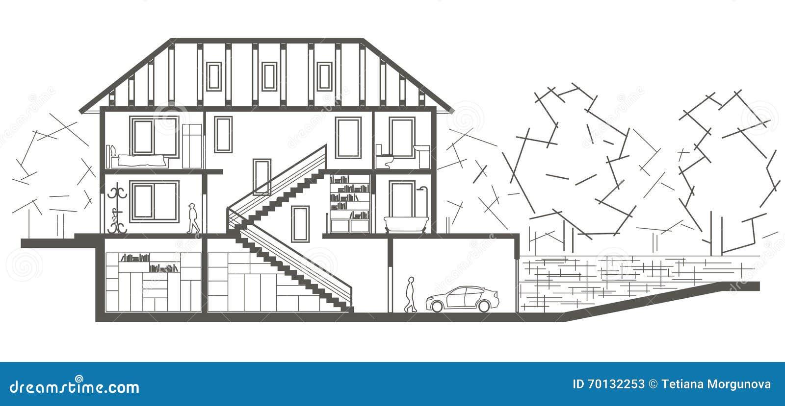 architekturskizzenbaumstrukturhaus schnittzeichnung vektor. Black Bedroom Furniture Sets. Home Design Ideas