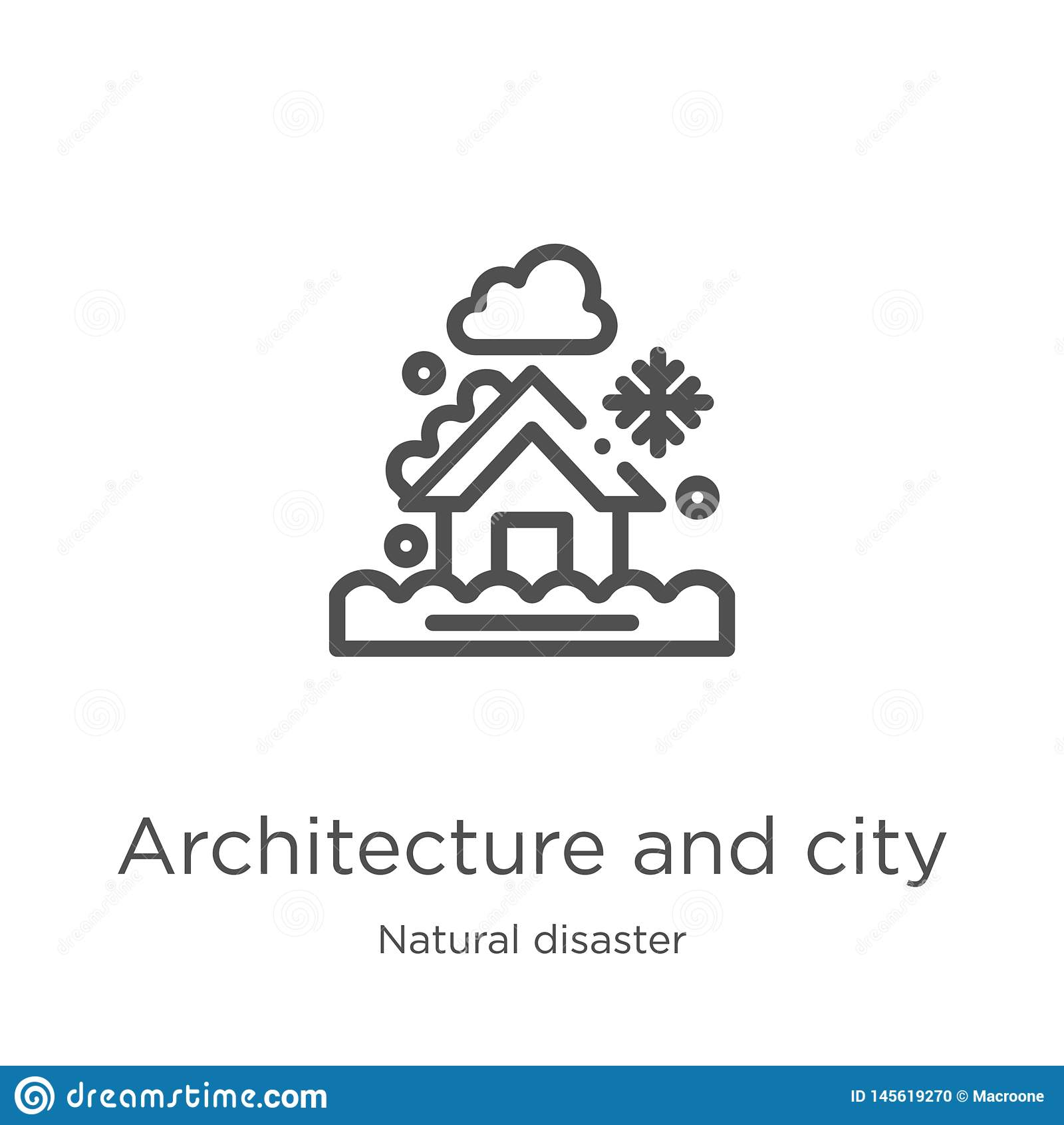Architektury i miasto ikony wektor od katastrofy naturalnej kolekcji Cienka kreskowa architektura i miasto zarysowywamy ikona wek