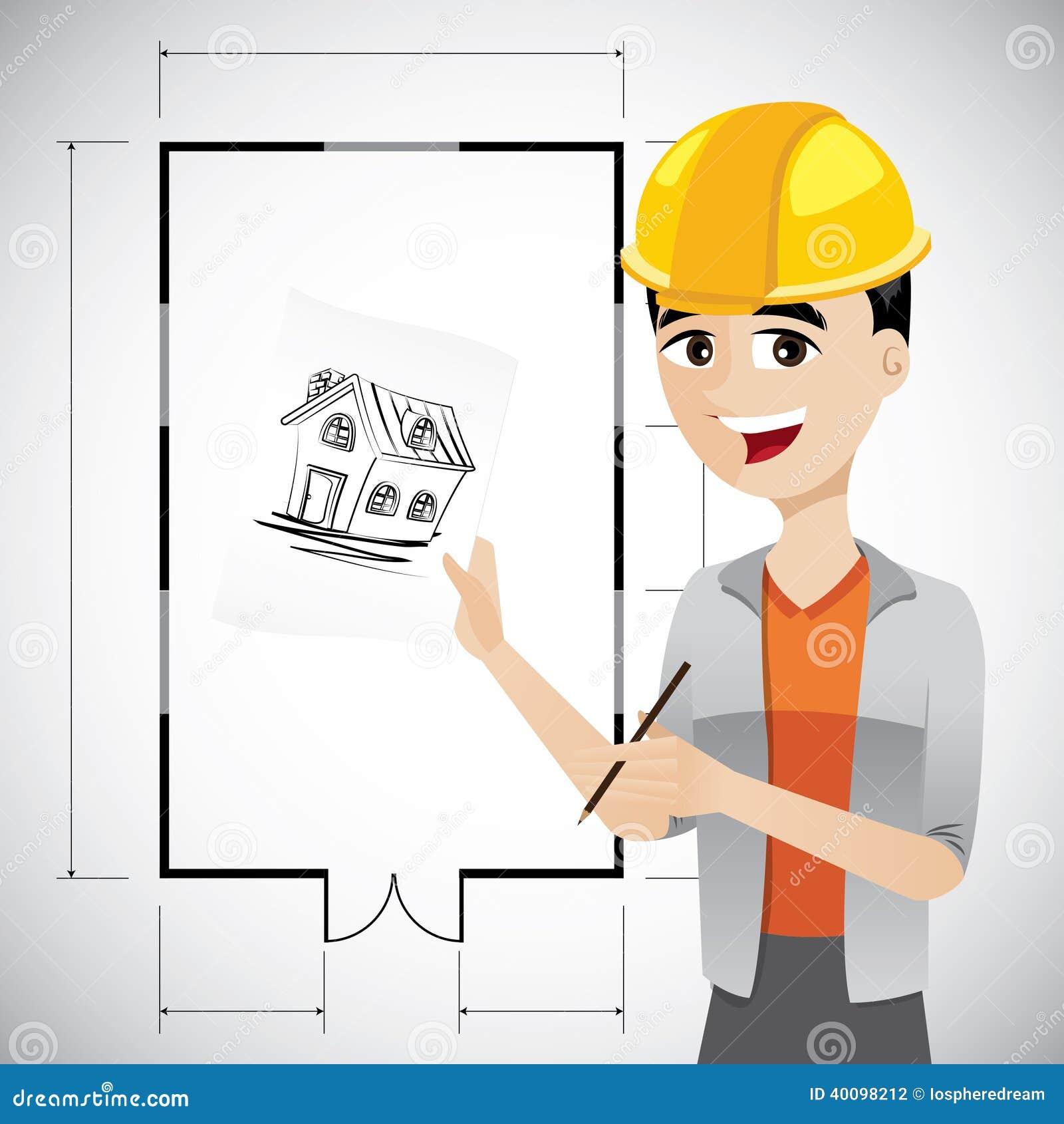 Architetto del fumetto che schizza casa illustrazione for Case da architetto
