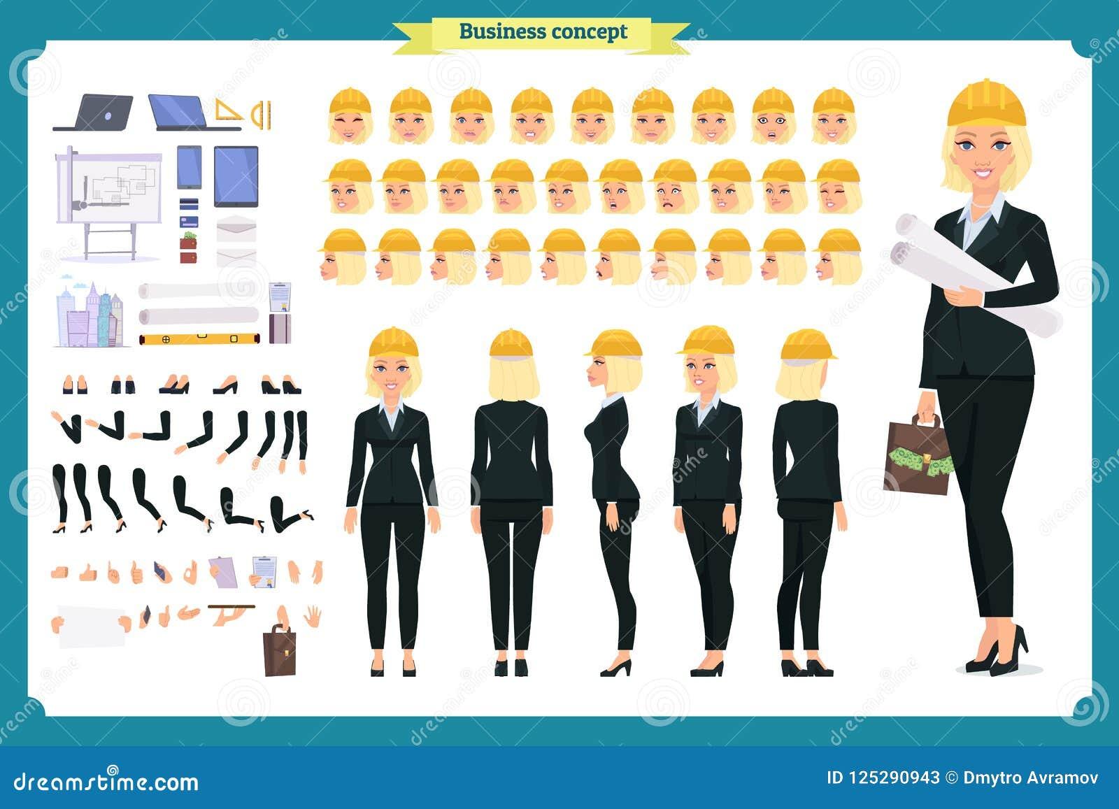 Architetto della donna in vestito ed in casco protettivo Insieme della creazione del carattere Viste, emozioni e gesti integrali