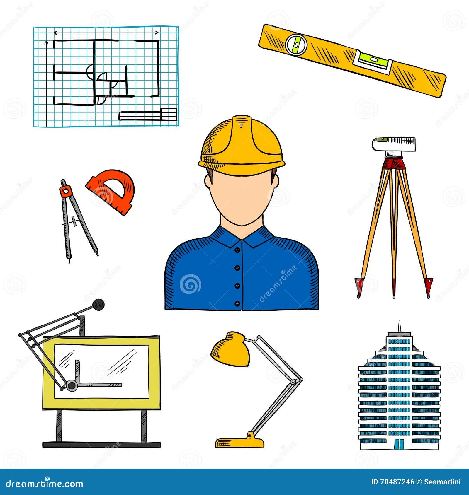 Architetto o ingegnere con i simboli della costruzione for Immagine di un disegno di architetto