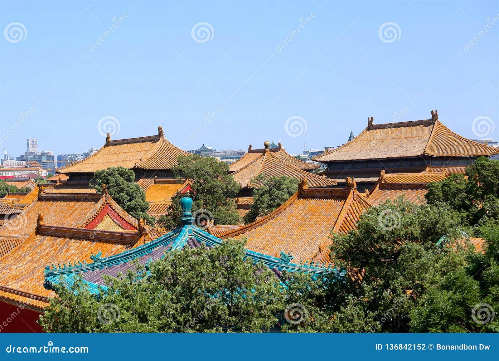 Architettura antica, tetto della Città proibita, Pechino, Cina