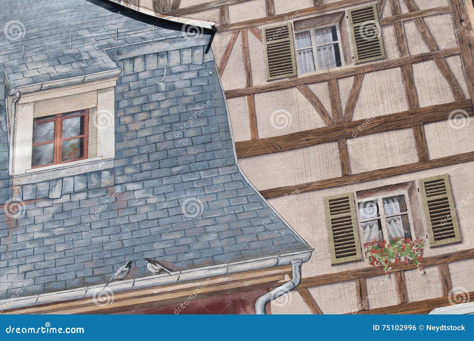 Pittura Pareti Particolare : Architettura con la pittura di illusione ottica sulla parete