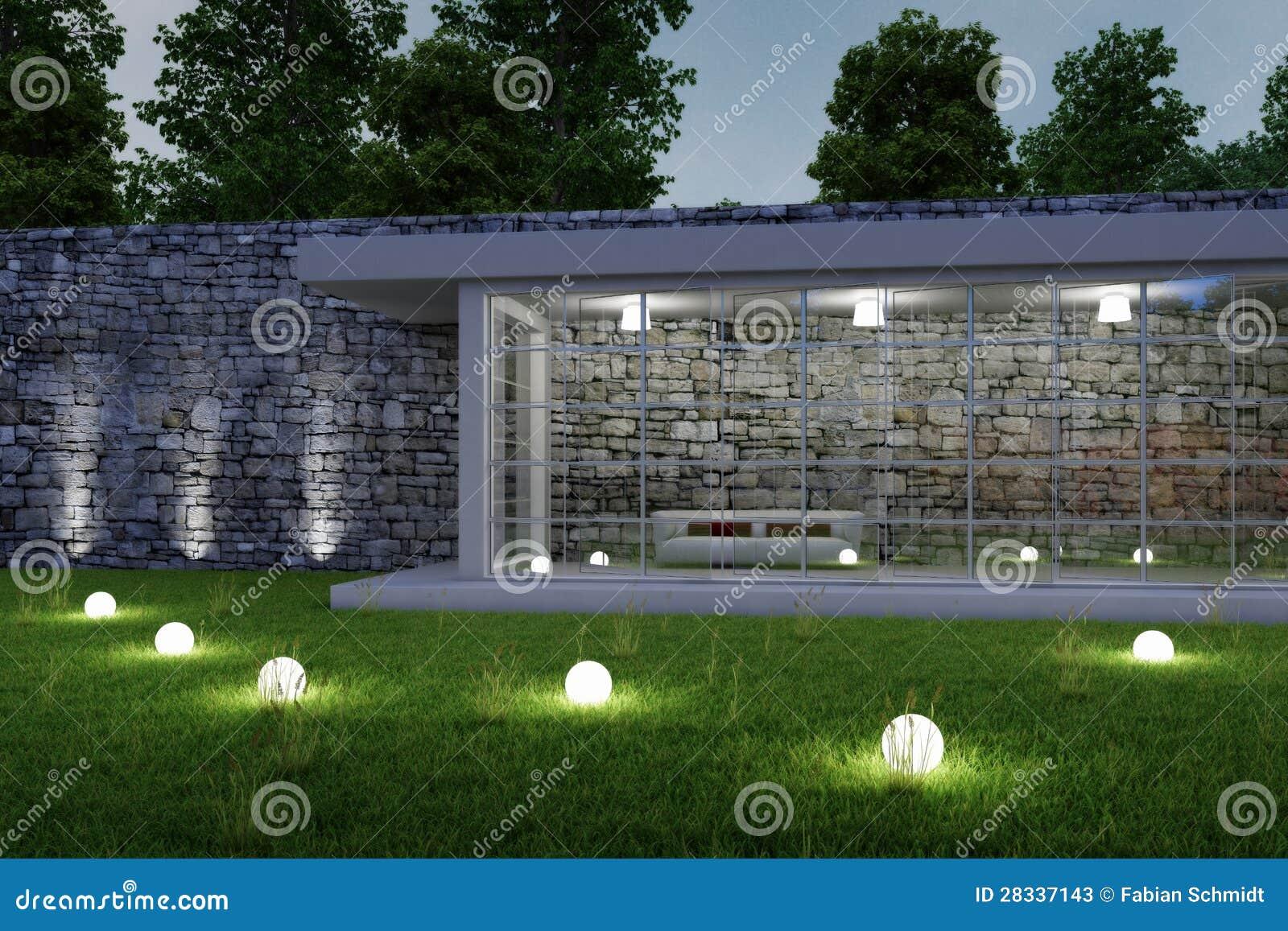 architettura del giardino entro la notte illustrazione di