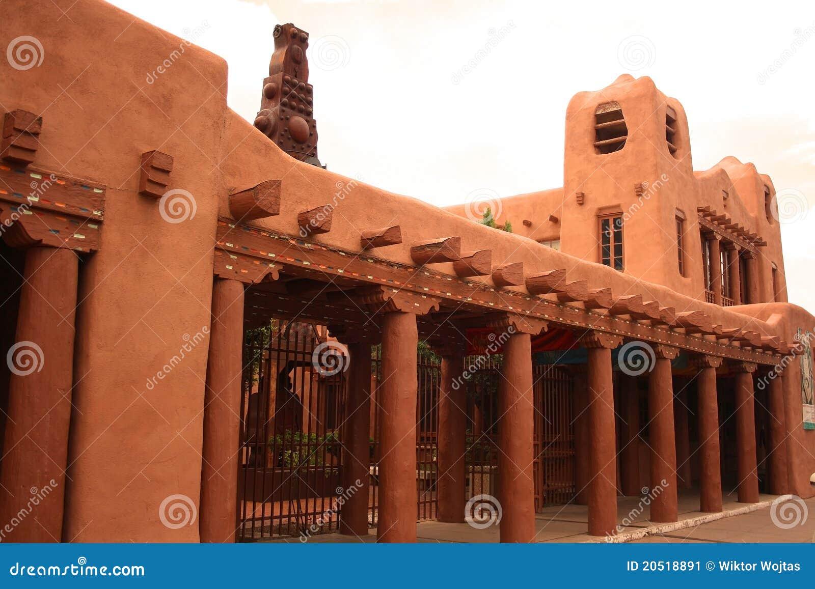 architettura dell 39 adobe di santa fe immagine stock