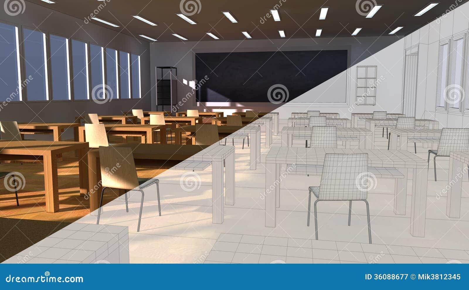 Architettura dell 39 aula illustrazione di stock for Programmi 3d architettura