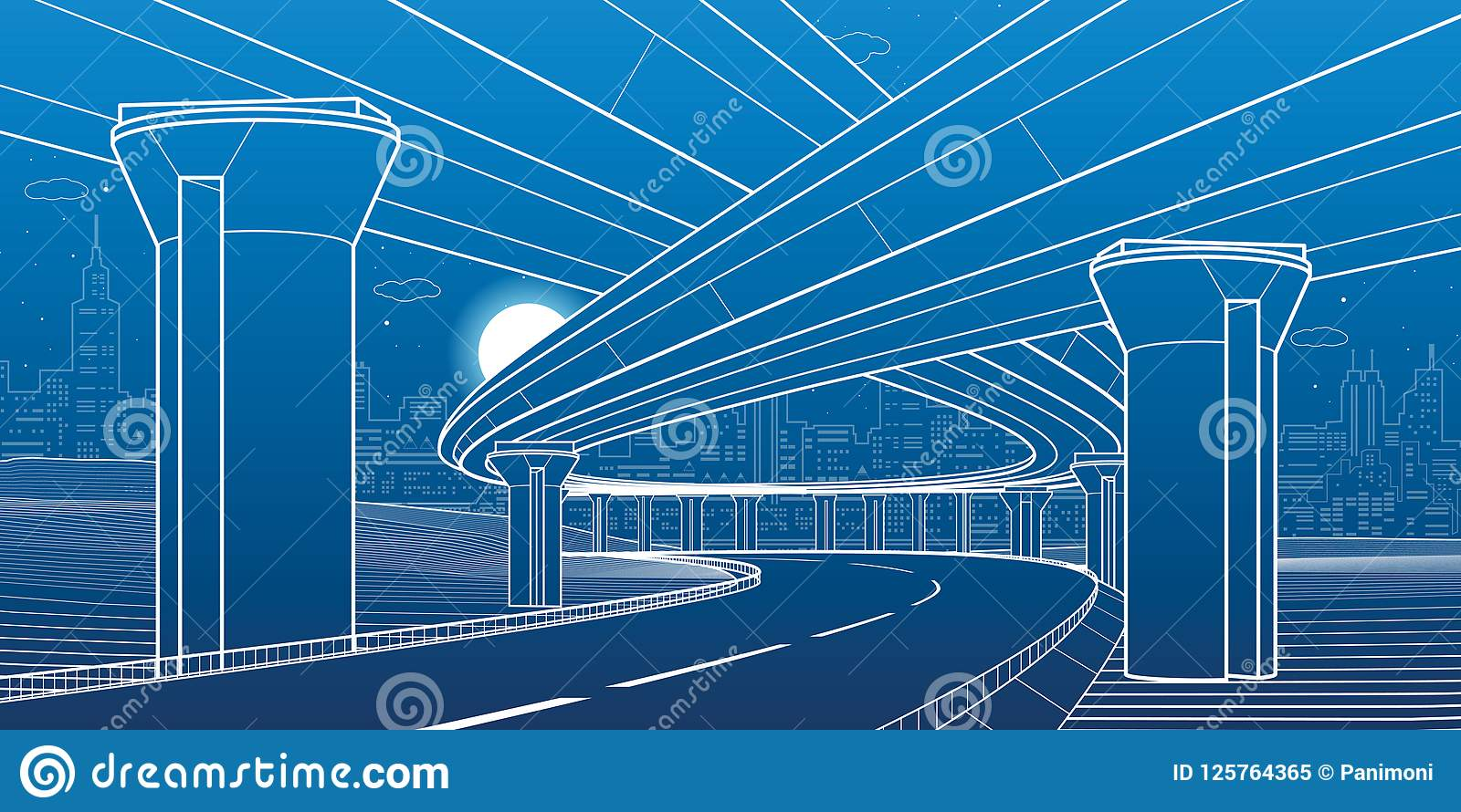 Architettura della città ed illustrazione dell infrastruttura, passaggio automobilistico, grandi ponti, scena urbana Città di not