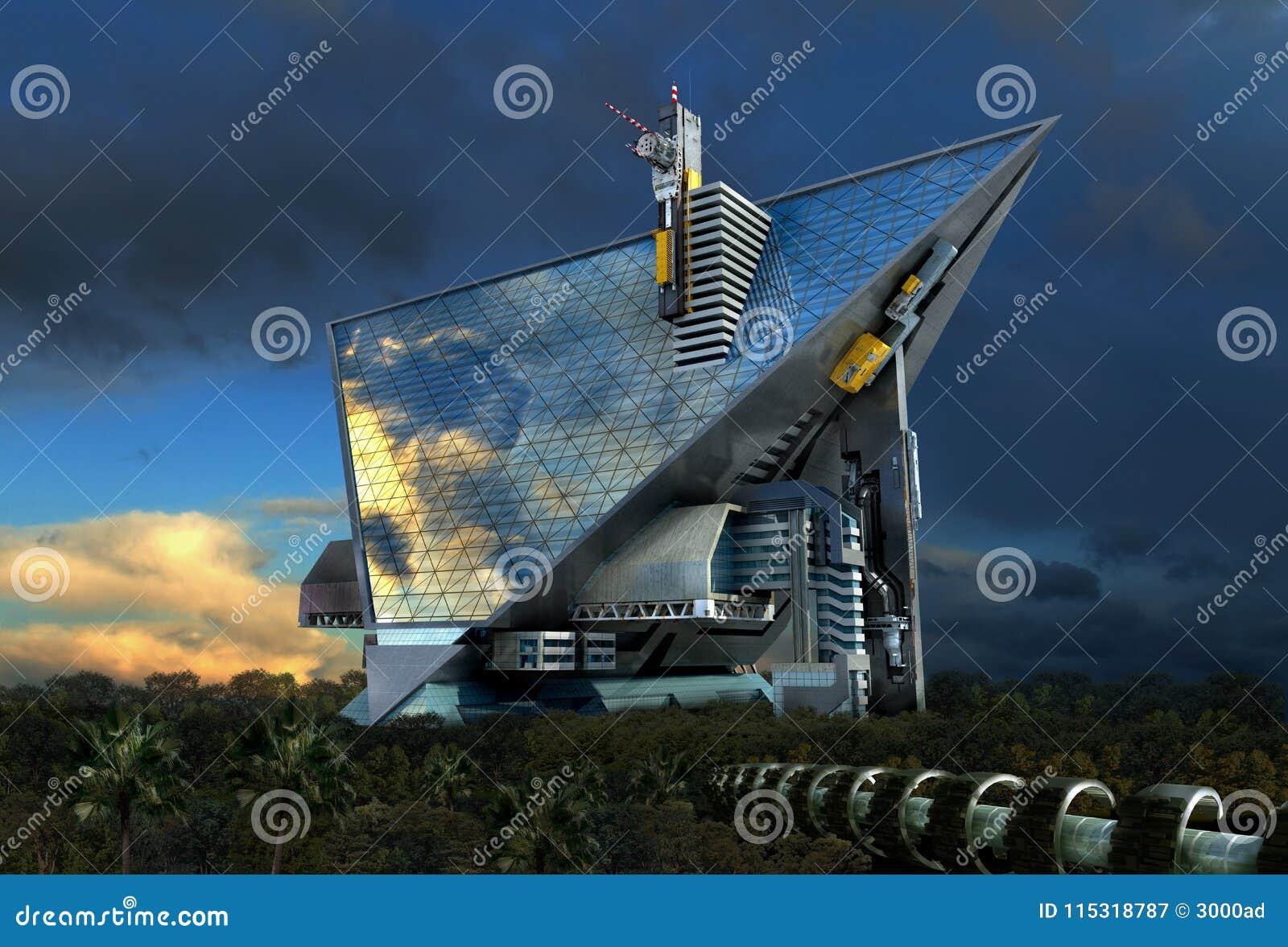 Architettura futuristica del tecnologo 3d illustrazione di for Programmi 3d architettura