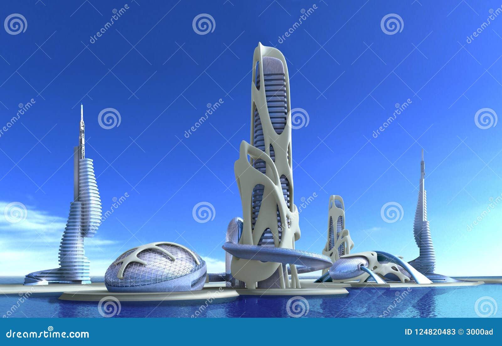Architettura futuristica della citt per la fantasia ed il for Programmi 3d architettura