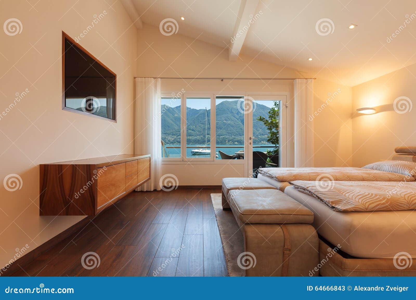 architettura interna, camera da letto, vista del lago fotografia ... - Lago Camera Da Letto