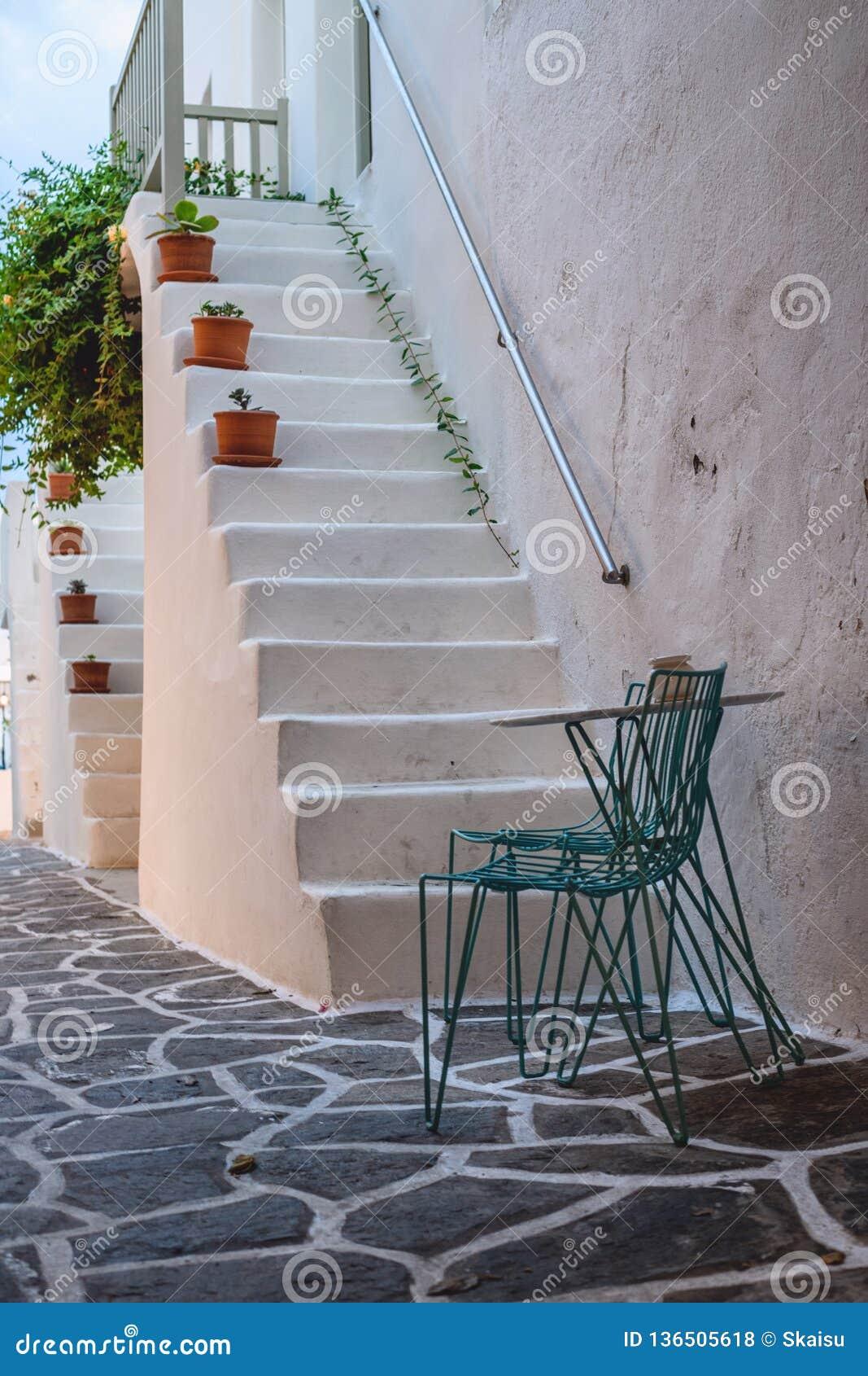Architettura tradizionale di Cicladi sull isola di Paros, villaggio di Naoussa La Grecia