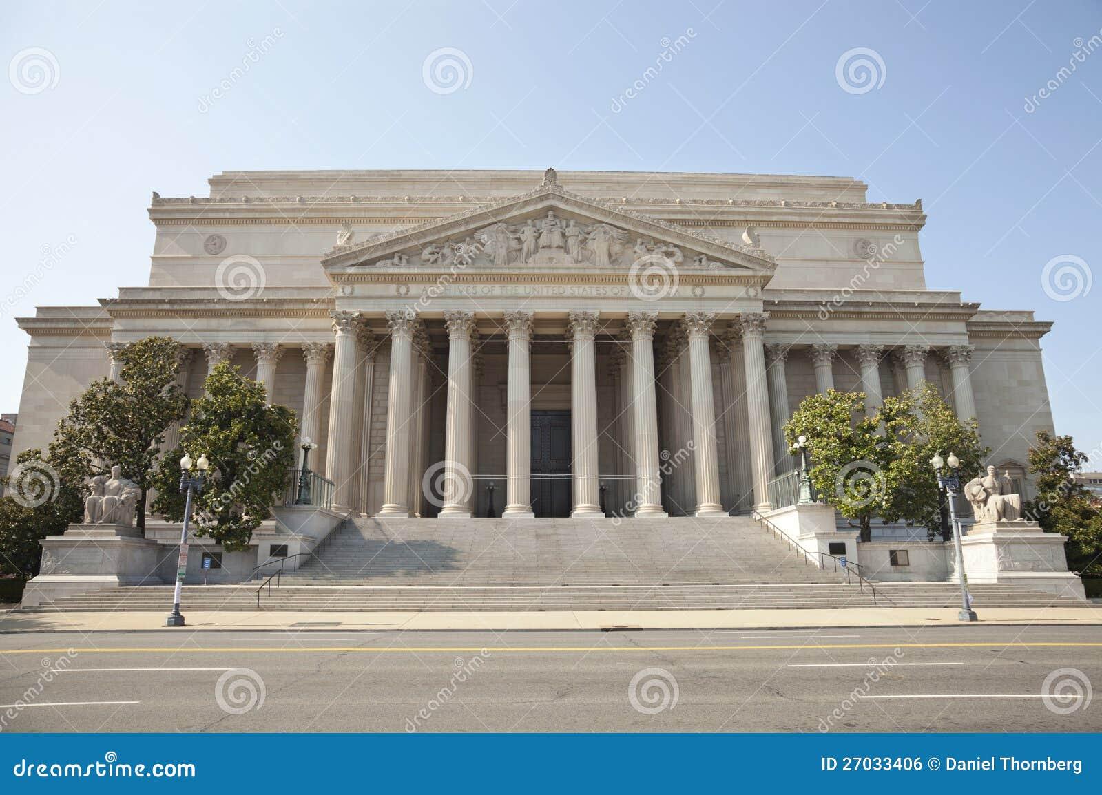 Archives nationales construisant dans l avant de Washington DC