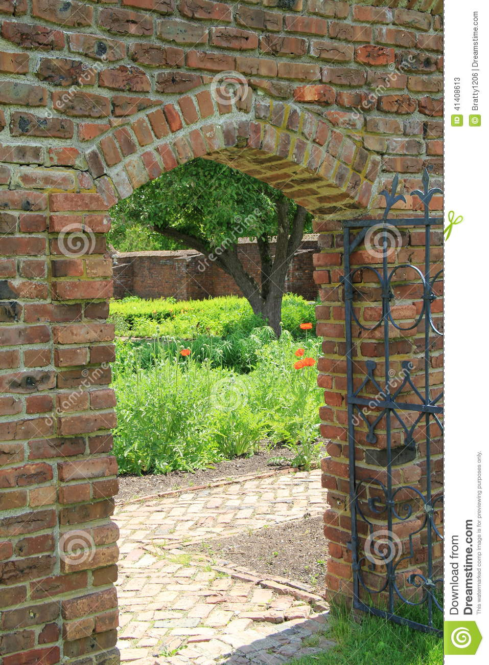 Archway in brick wall stock photo image 41408613 for Brick garden wall designs homes