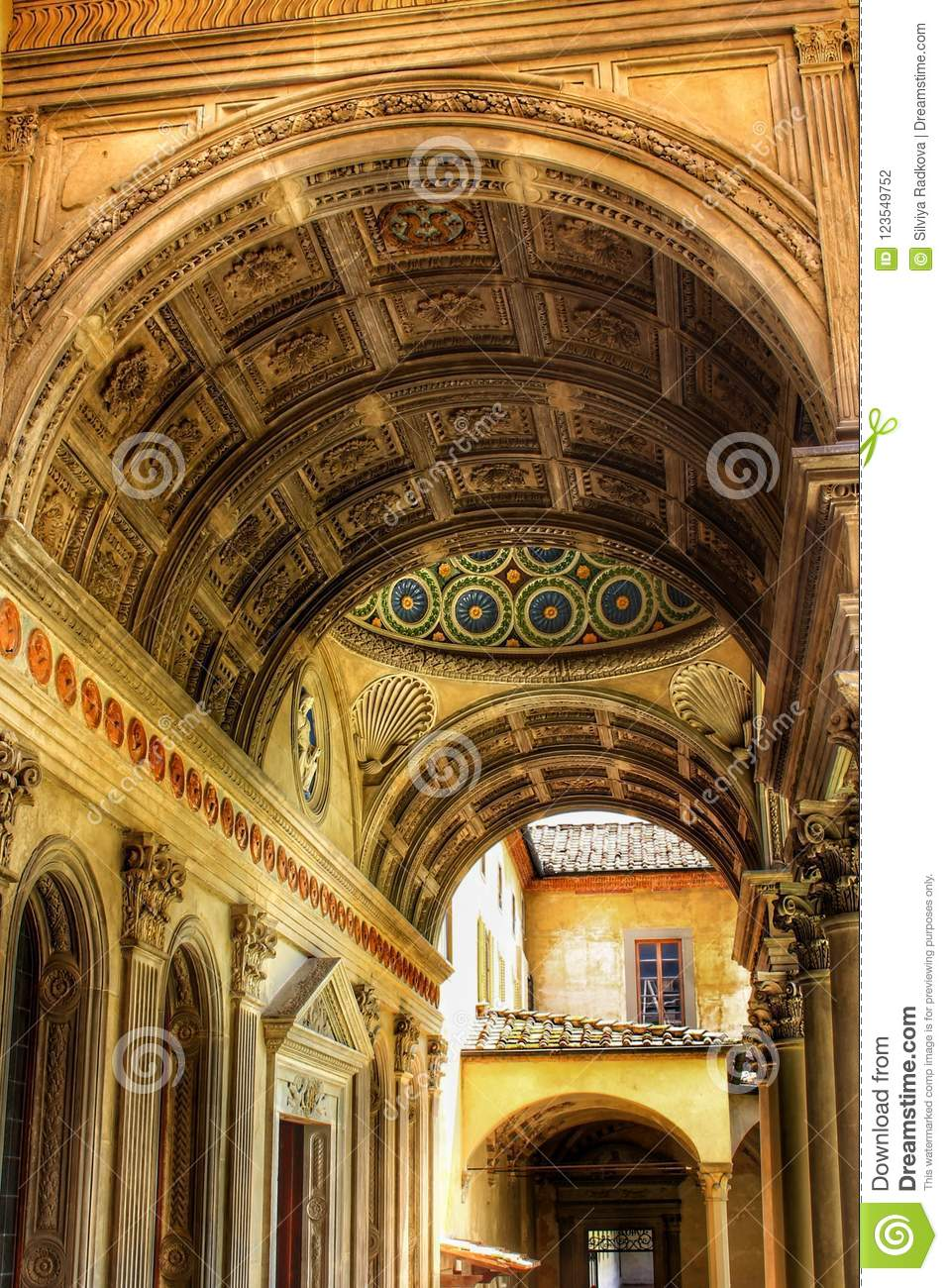 an archway in florence italy editorial photography image of