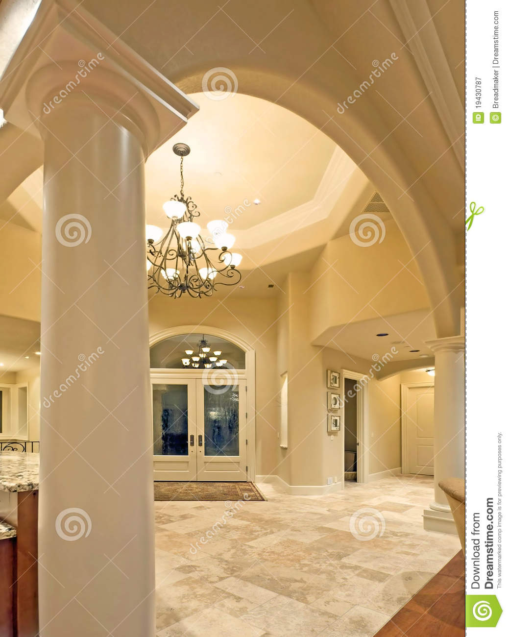 Archway And Foyer In Luxury Home Stock Image Image 19430787