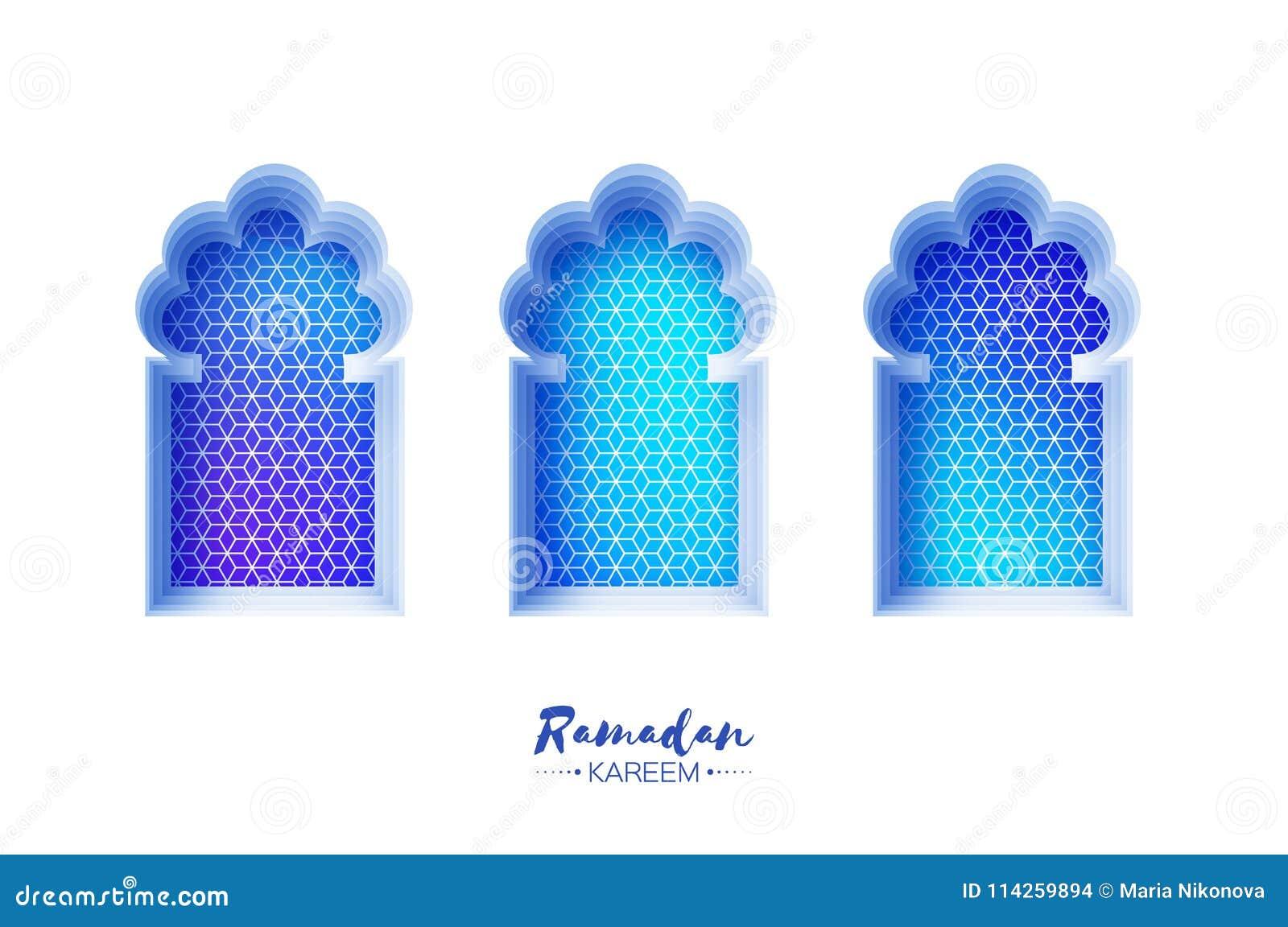 Arco árabe de la ventana en estilo del corte del papel Tarjetas de felicitación de Ramadan Kareem de la papiroflexia Modelo del A