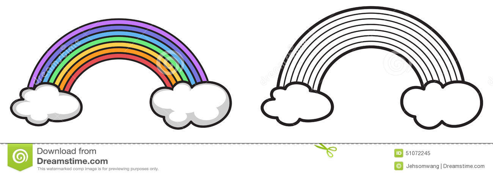 Arco Iris Colorido E Preto E Branco Para O Livro Para Colorir