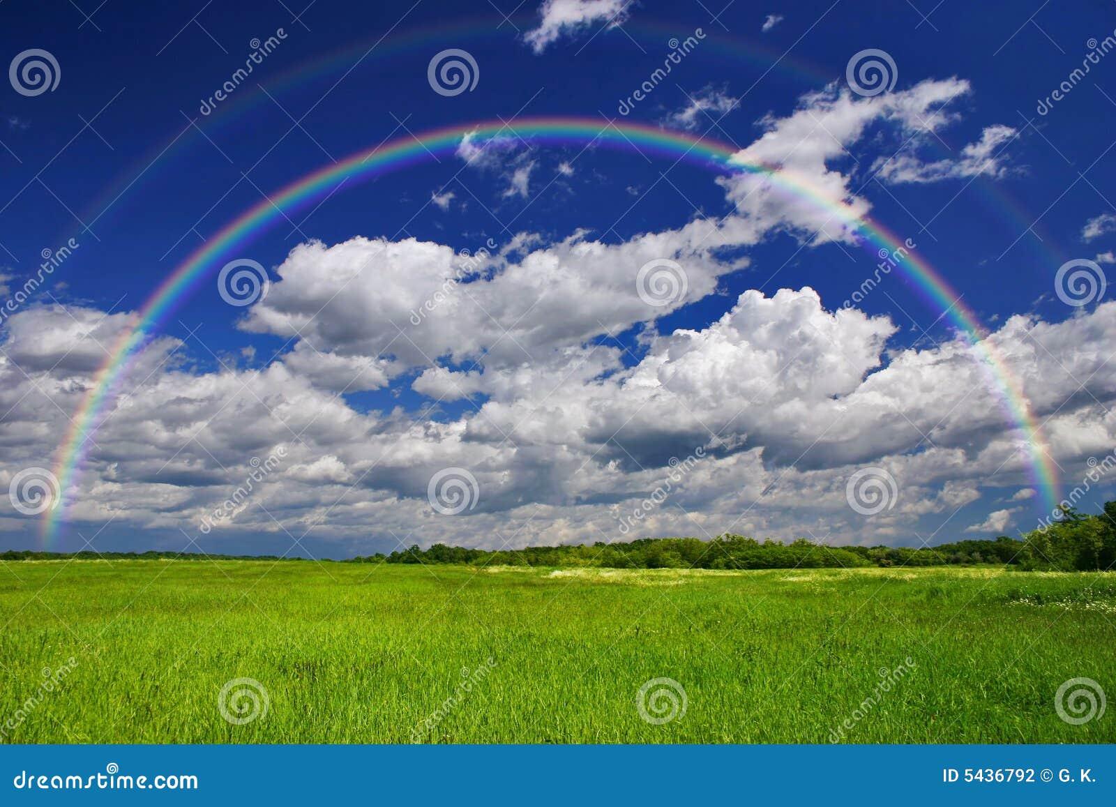 Arco-íris da grama verde