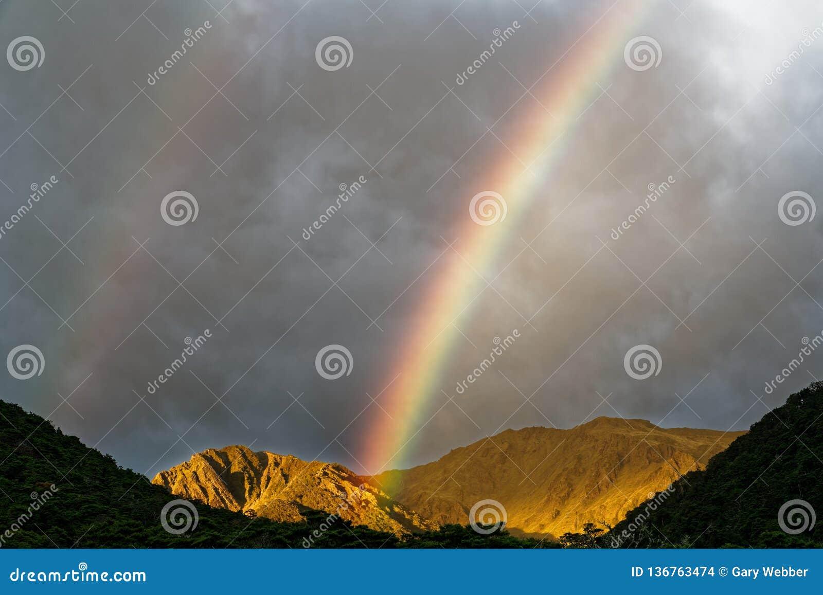 Arco-íris dobro, St James Walkway, Nova Zelândia