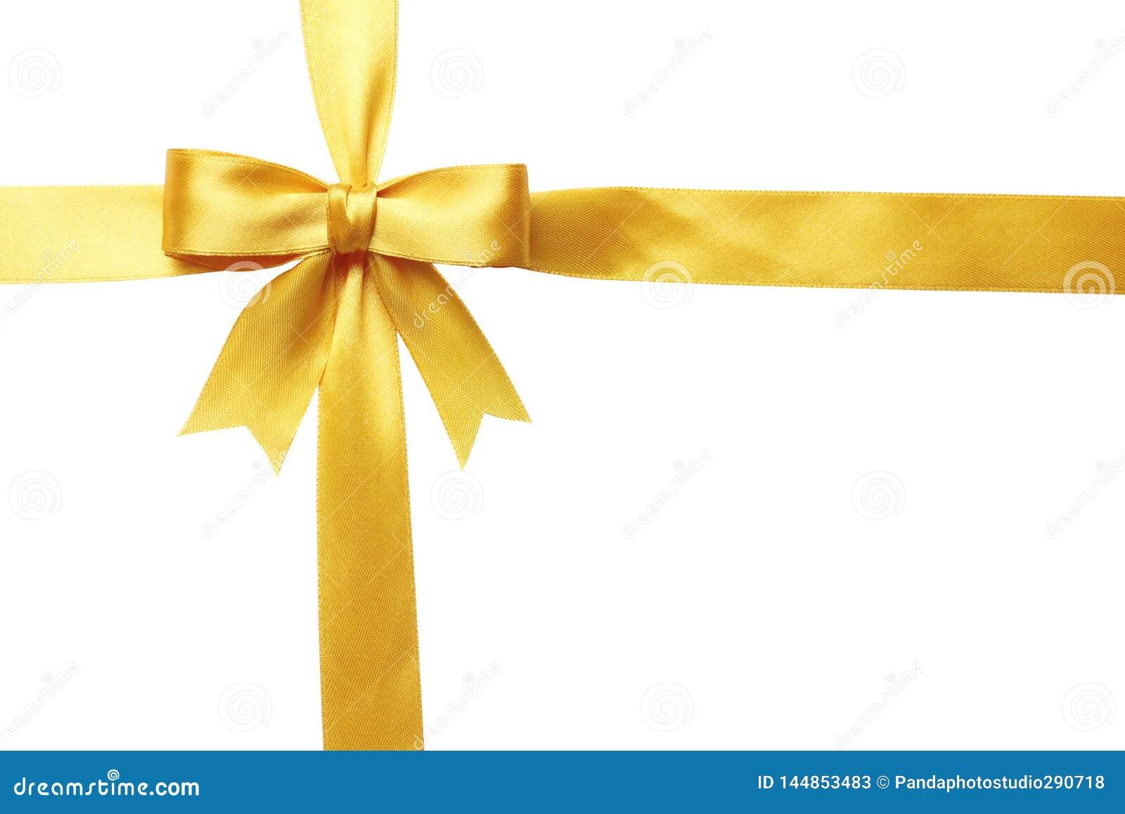 Arco amarillo y cinta aislados en el fondo blanco