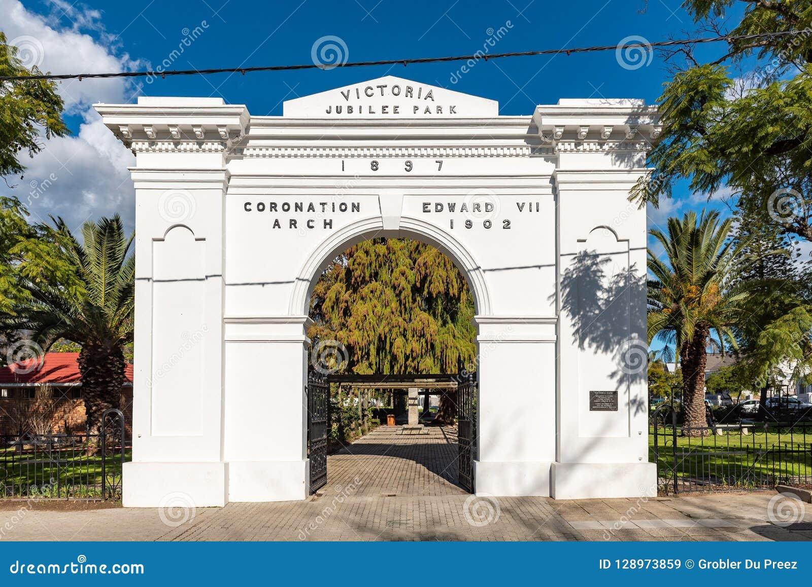 Arco da coroação do rei Edward VII em Victoria Park em Wellington
