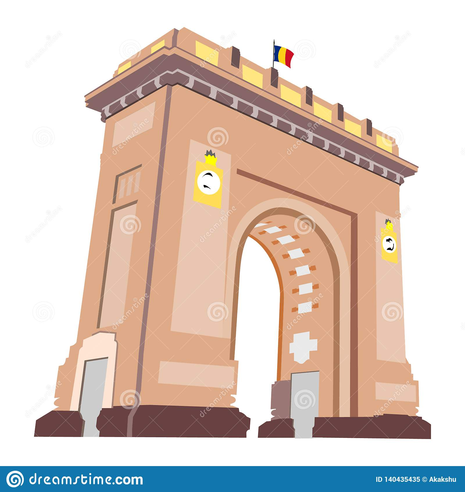 Arco de Triumph em Bucareste, Romênia, como visto na noite com luzes sobre, isolado no fundo branco Bandeira romena minúscula na