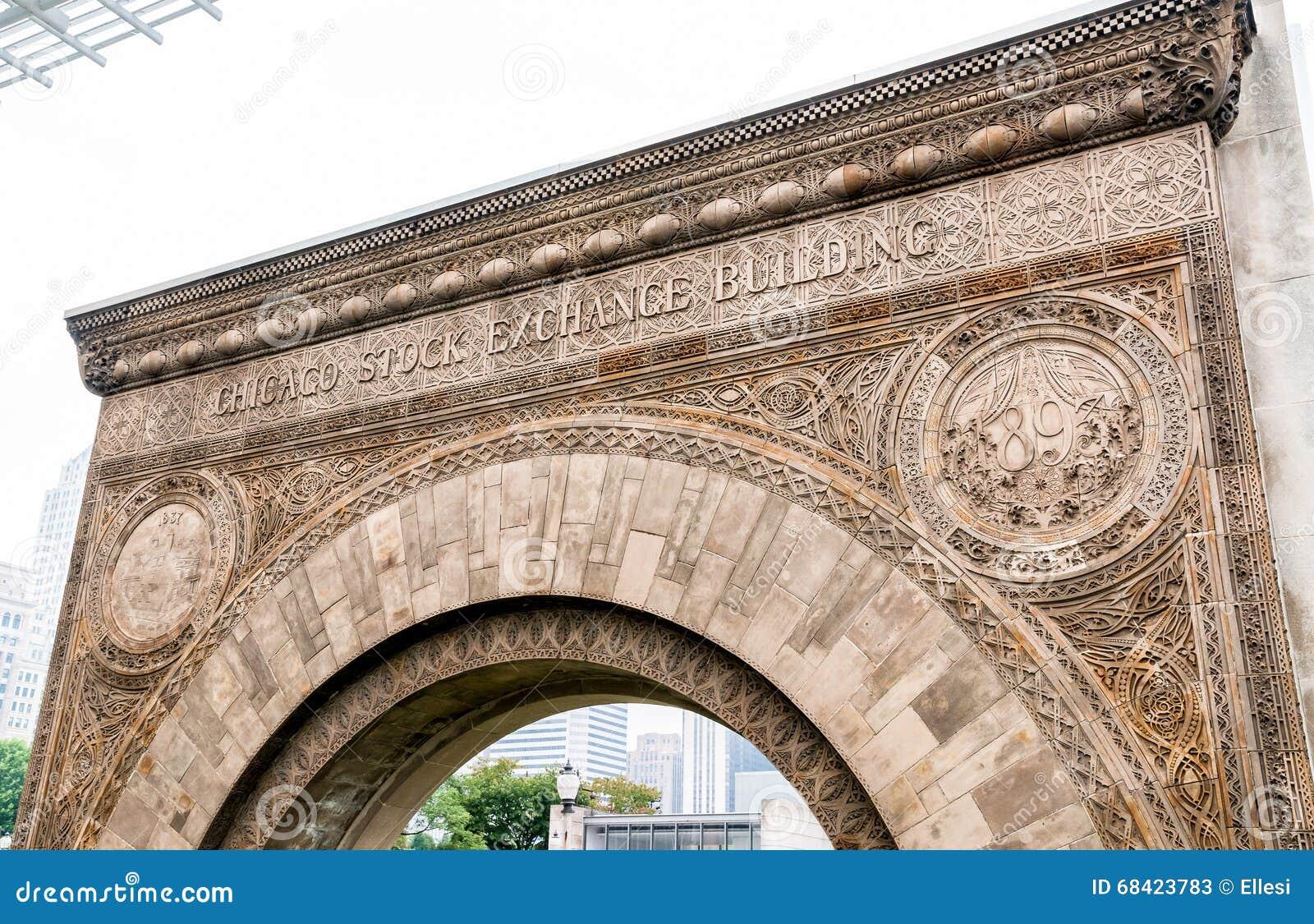 Arco dell entrata di borsa valori di Chicago