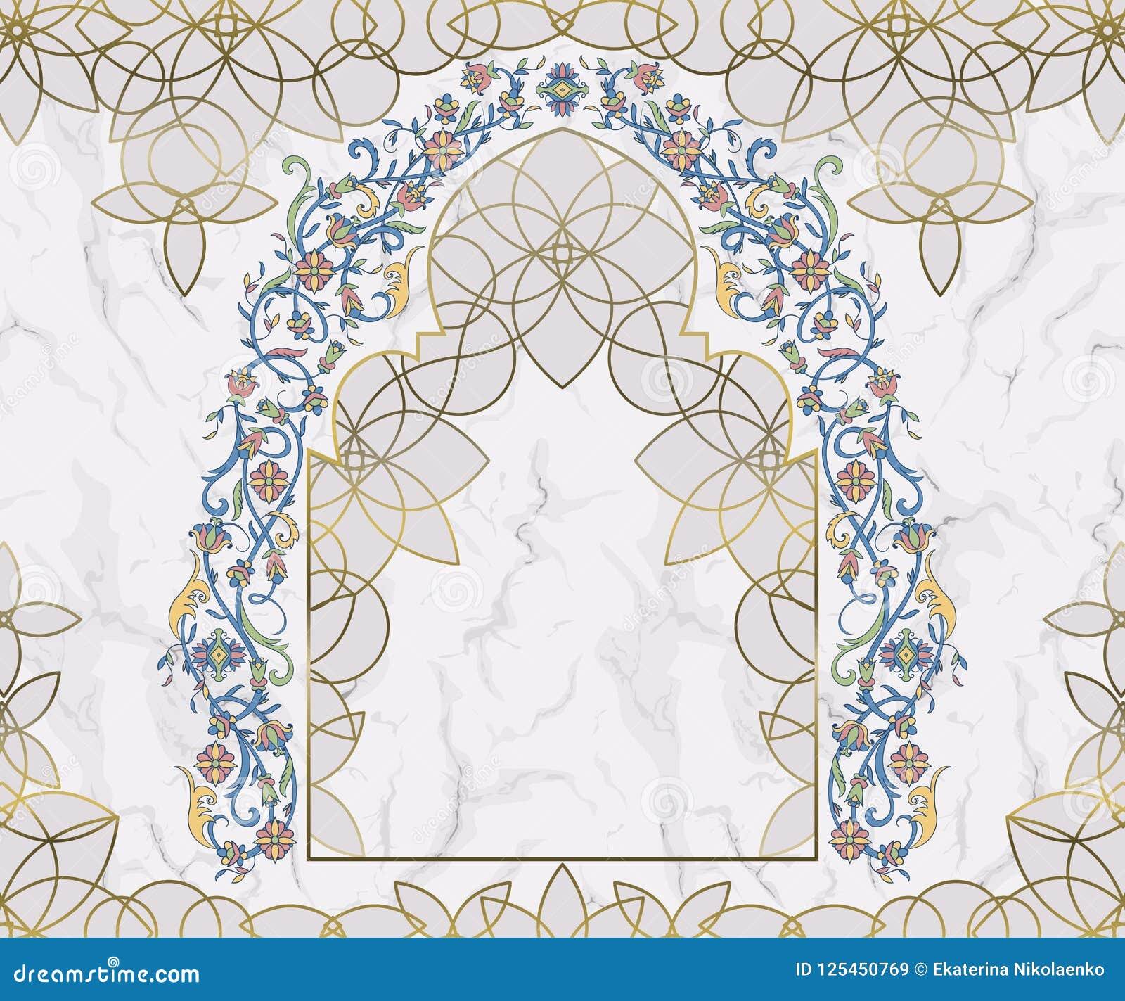 Arco floral árabe Ornamento islâmico tradicional no fundo de mármore branco Elemento do projeto da decoração da mesquita