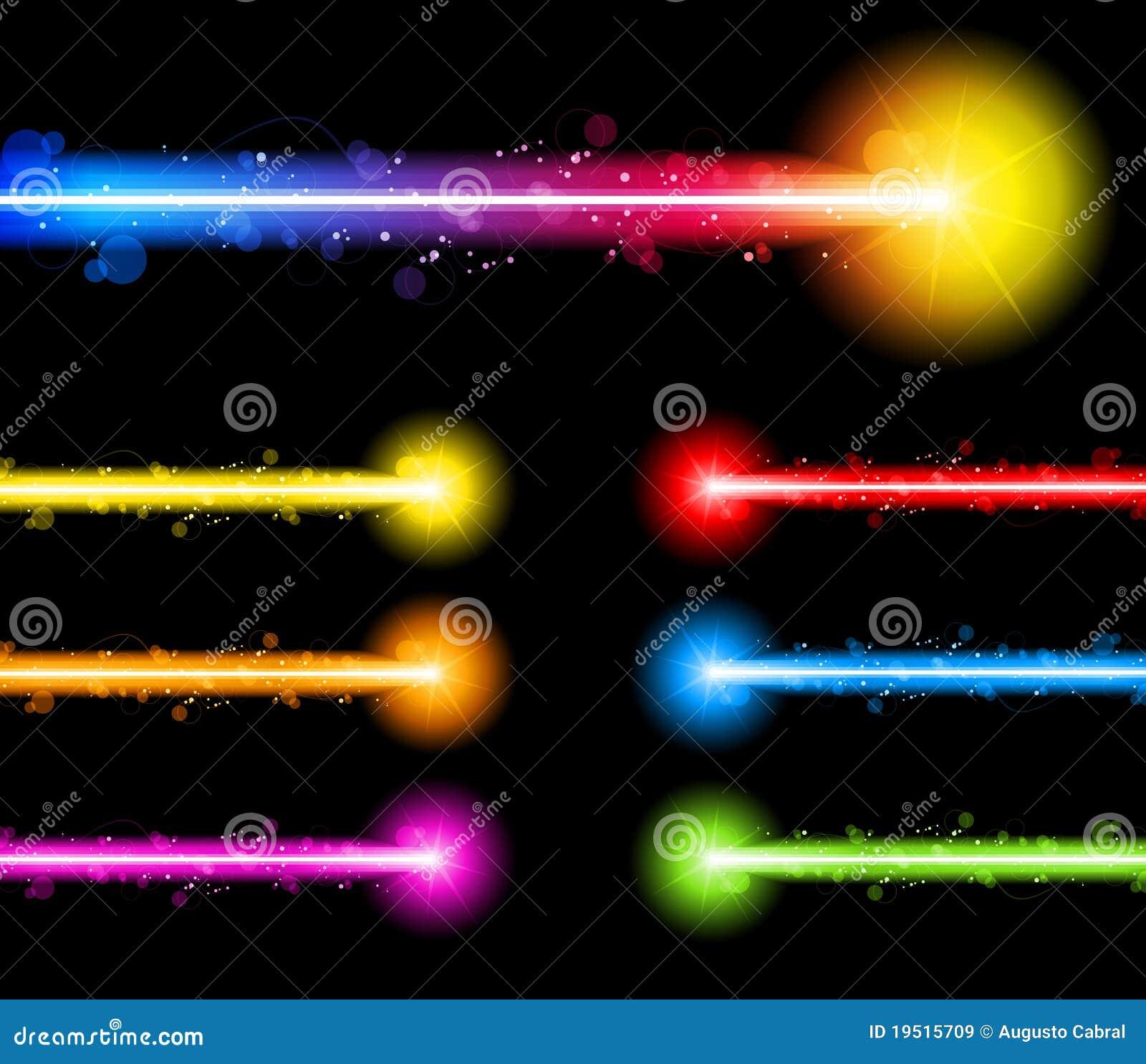 Arco iris colorido de neón de las luces del laser