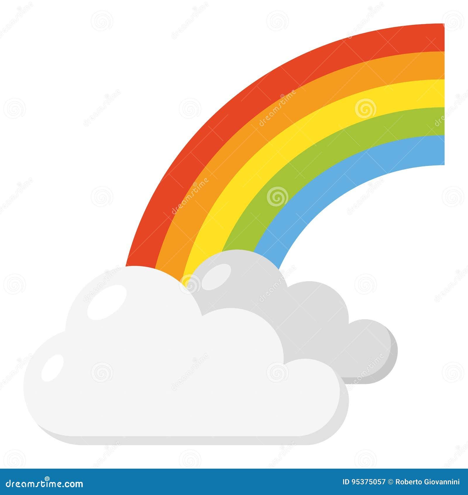 Arco iris con el icono plano de las nubes en blanco