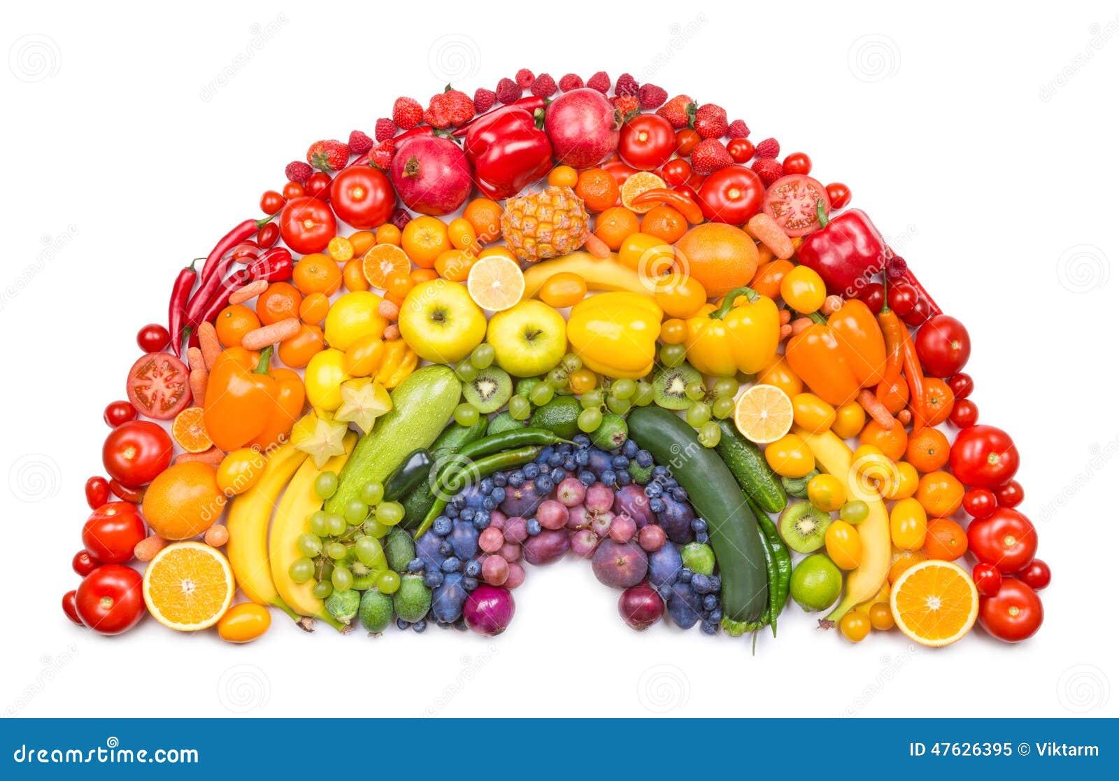 Arco iris de la fruta y verdura