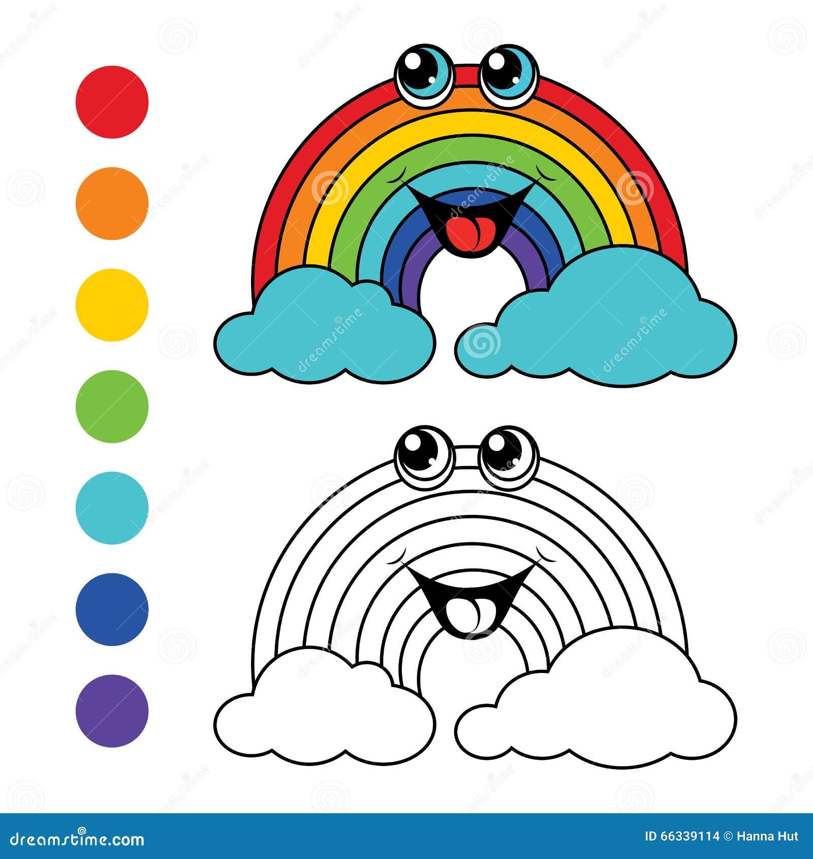 Arco Iris Del Libro De Colorear Disposición De Los Niños