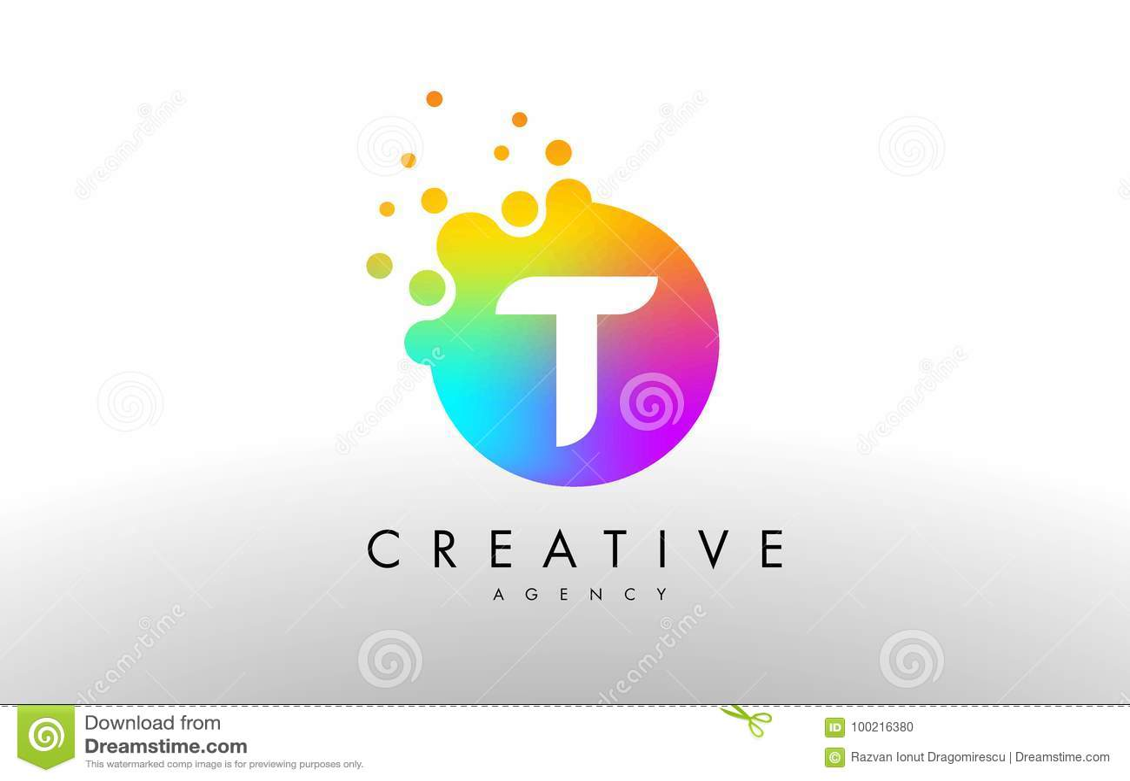 Arco Iris Dots Letter Logo De T Vector Del Diseño De Letra Con D ...